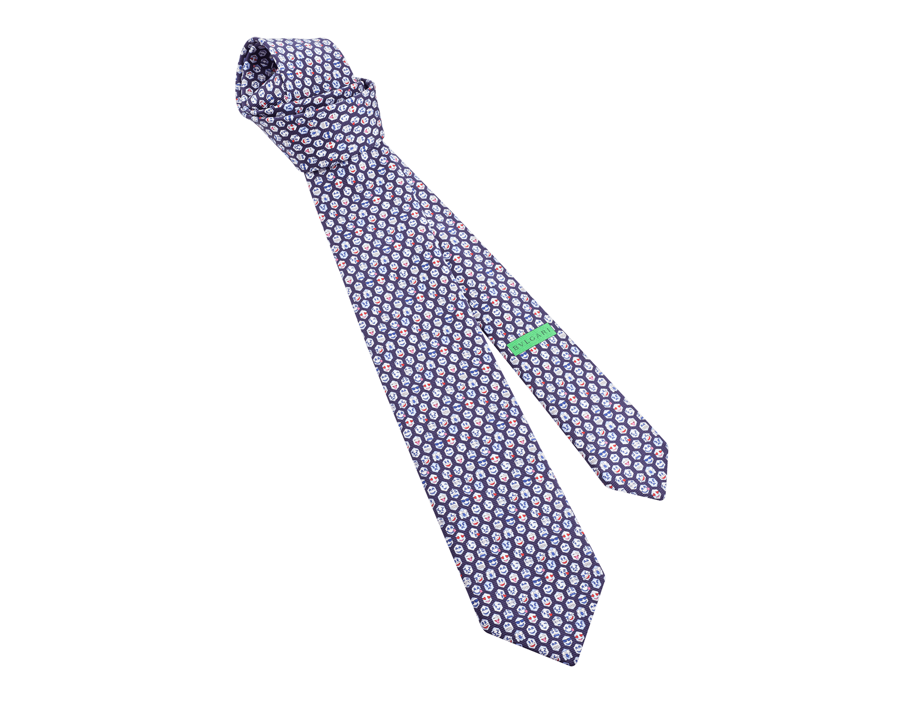 "Light blue ""Social Scales"" seven-fold tie in fine saglione printed silk. SOCIALSCALES image 1"