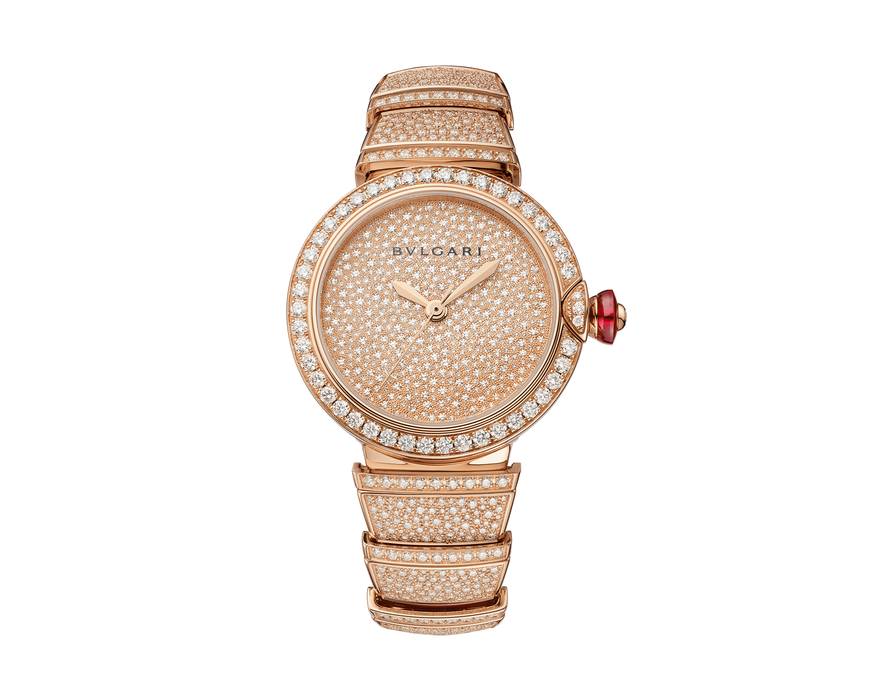 LVCEA watch in 18kt rose gold case and bracelet, both set with brilliant-cut diamonds, and full pavé diamond dial. 102617 image 1