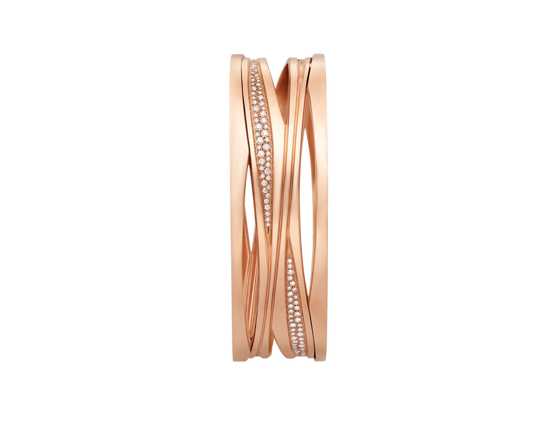 B.zero1 Design Legend bracelet in 18 kt rose gold, set with pavé diamonds on the spiral. BR858728 image 3