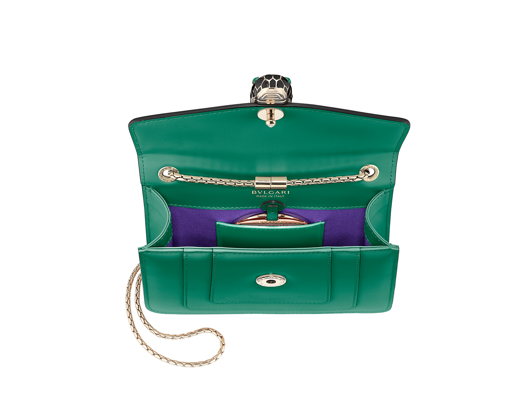 """Serpenti Forever"" crossbody bag in emerald green calf leather with amethyst purple gros grain internal lining. Iconic snakehead closure in light gold plated brass enriched with black and white agate enamel, and green malachite eyes. 422-CLa image 4"