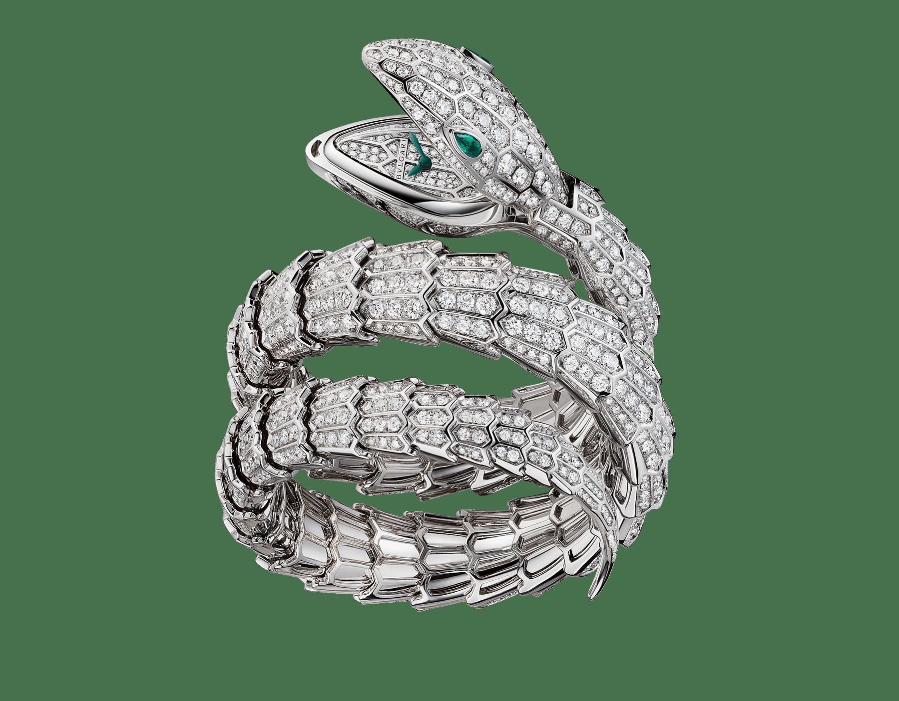 Orologio Serpenti Secret con testa, quadrante e bracciale a doppia spirale in oro bianco 18 kt con diamanti taglio brillante, occhi in smeraldo e cassa in oro bianco 18 kt. 102701 image 1