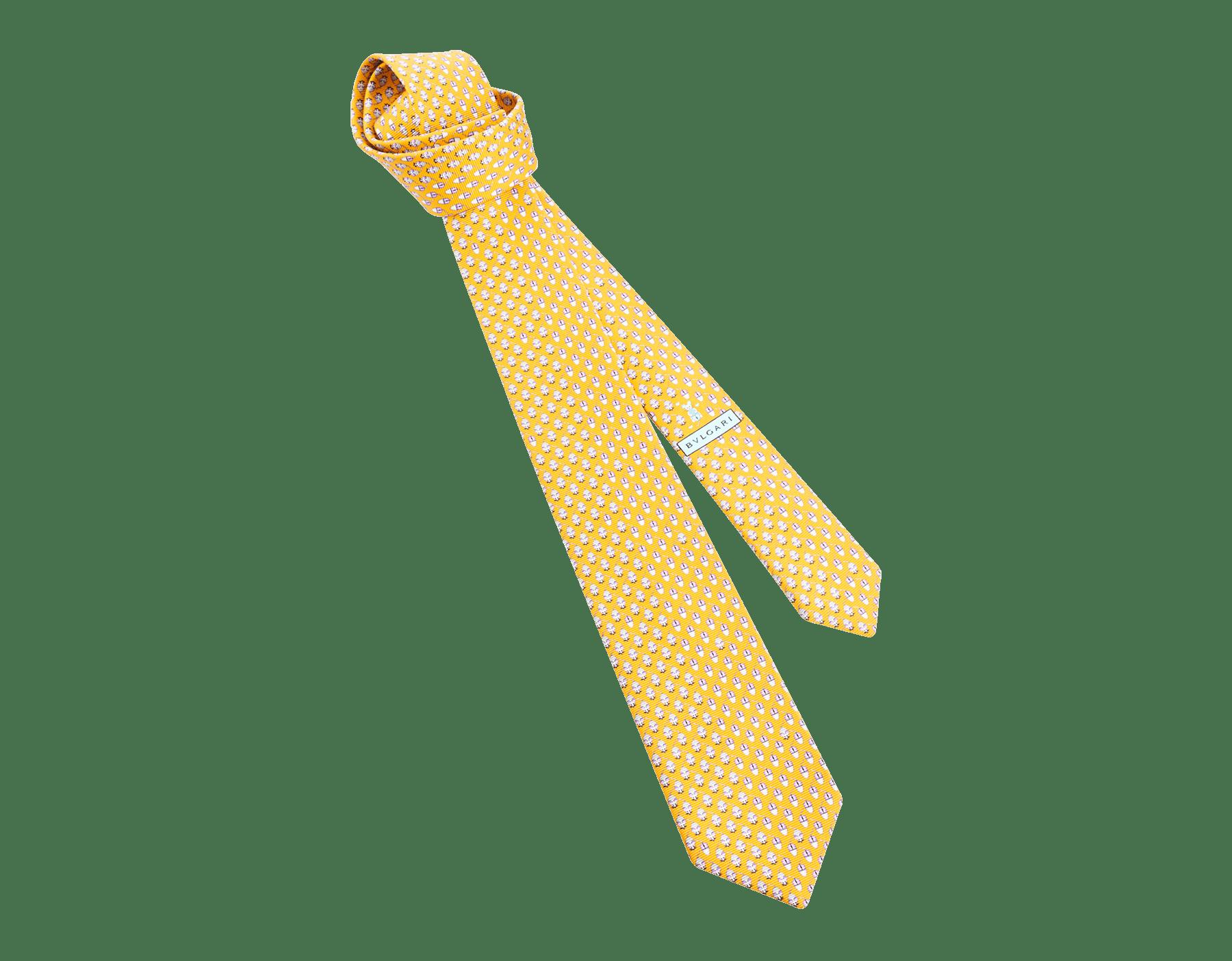 Mandarin Mouse Click pattern seven-fold tie in fine saglione printed silk. 244205 image 1