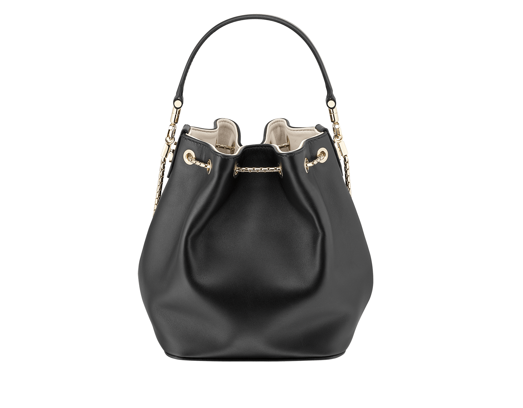 Bucket Serpenti Forever in black smooth calf leather and milky opal nappa internal lining. Hardware in light gold plated brass and snakehead closure in black and white enamel, with eyes in black onyx. 934-CLb image 3