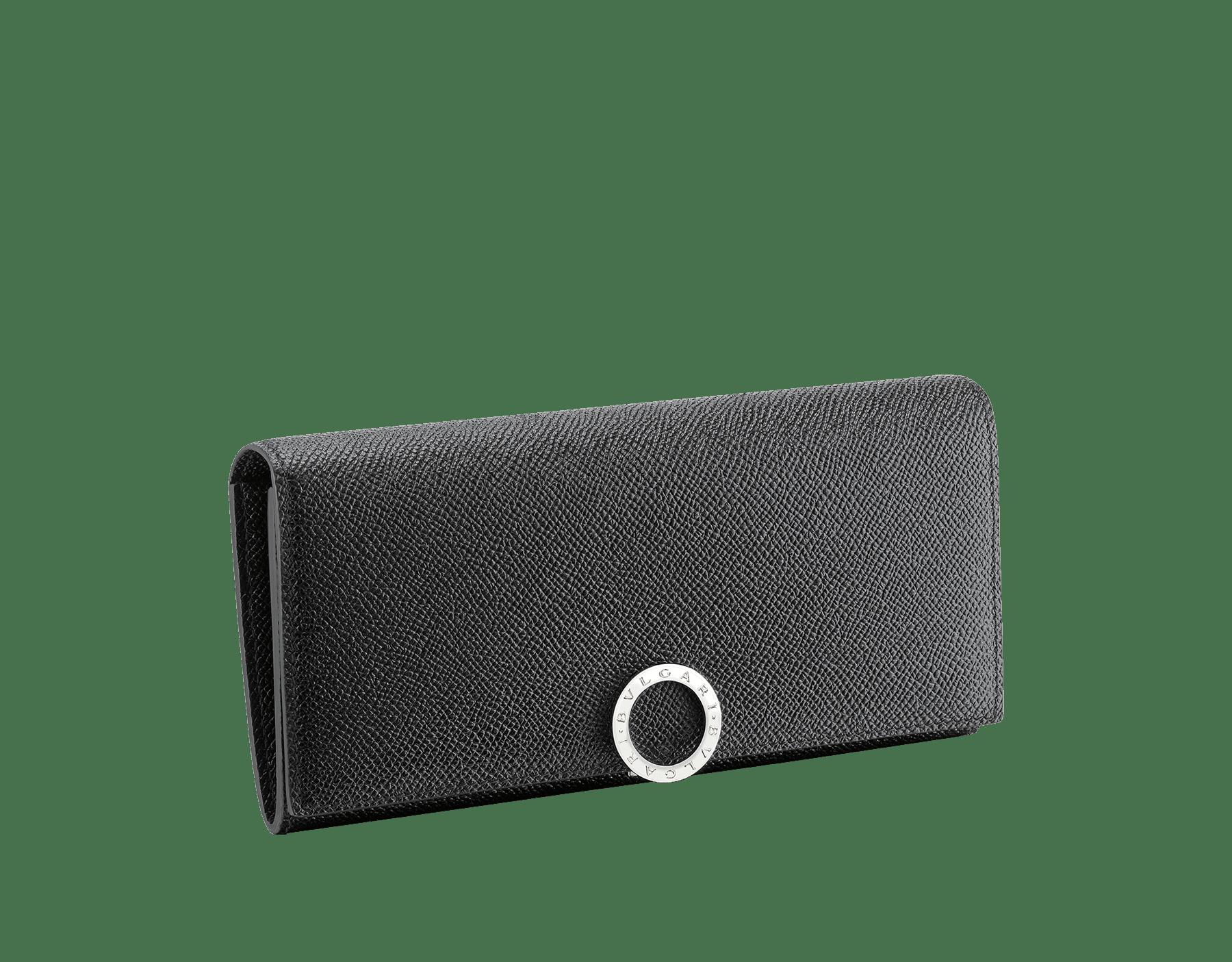 ブラックのグレインカーフレザー製ブルガリ・ブルガリ ウォレットポシェット。ブラスパラジウムプレートのアイコニックなロゴのクロージャークリップ。 289381 image 1