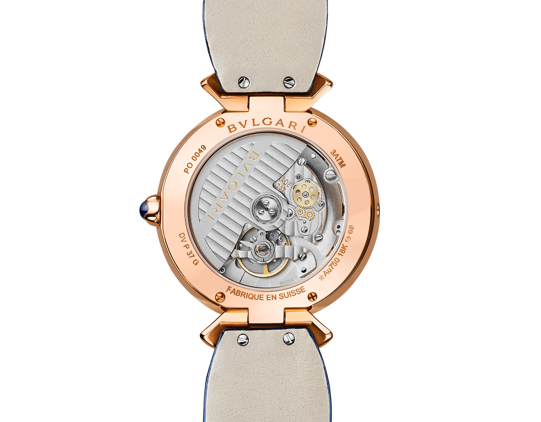 DIVAS' DREAM watch with 18 kt rose gold case set with brilliant-cut diamonds, mother-of-pearl dial with hand-painted peacock set with diamonds and dark blue alligator bracelet 102741 image 4