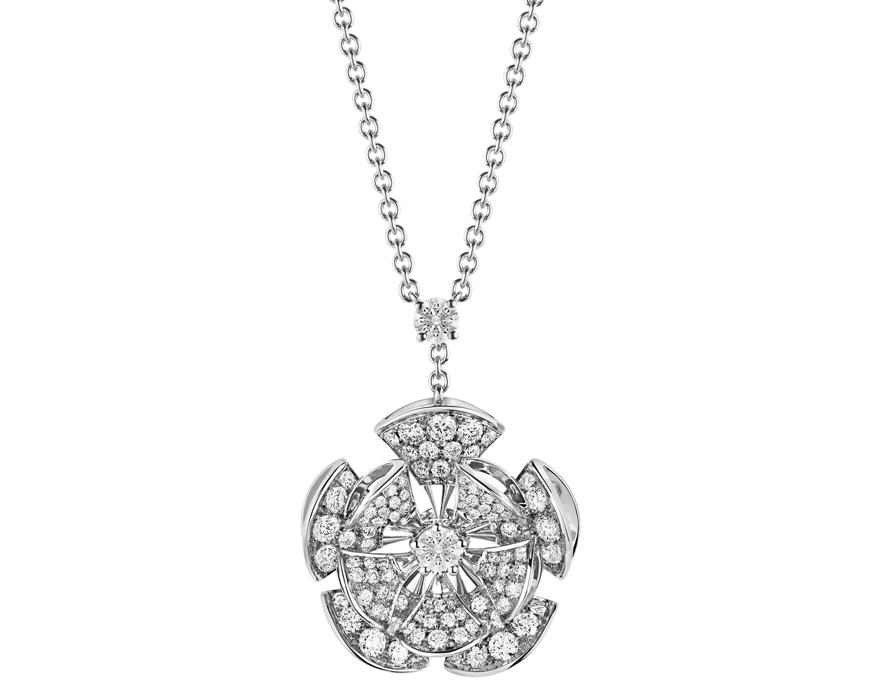 DIVAS' DREAM necklace in 18 kt white gold with a diamond on the chain and 18 kt white gold pendant set with central diamond and full pavé diamonds. 350854 image 1