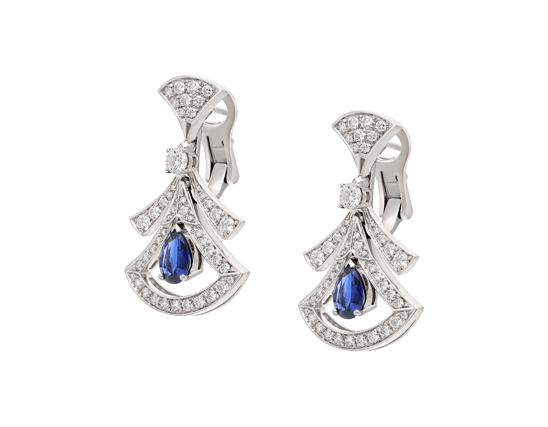 DIVAS' DREAM 18 kt white gold openwork earrings, set with pear-shaped sapphires, round brilliant-cut and pavé diamonds. 357324 image 2