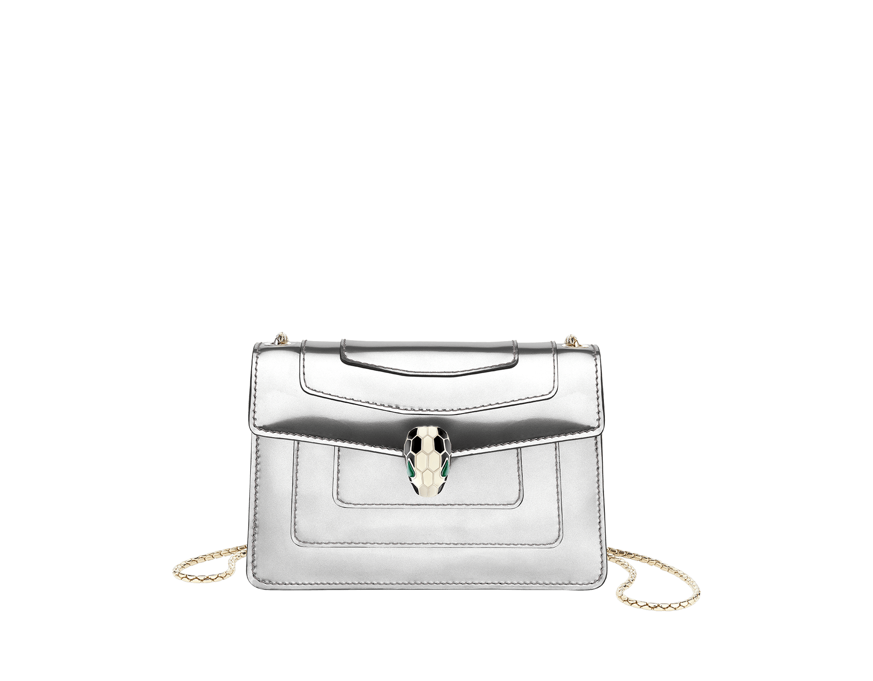 Serpenti Forever mini crossbody bag in silver brushed metallic calf leather. Brass light gold plated snake head closure in black and white enamel, with green malachite eyes. 288051 image 1
