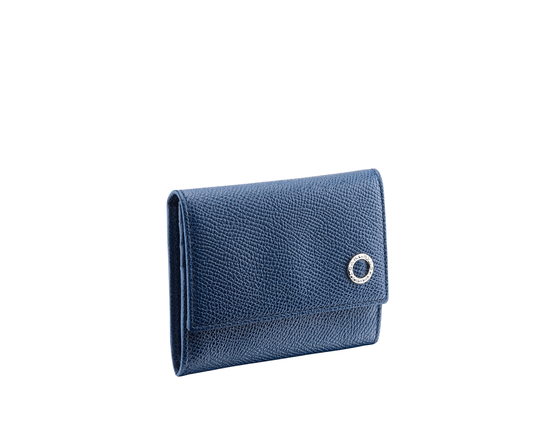 Coin and credit card holder in denim sapphire grain calf leather with brass palladium plated BVLGARI BVLGARI motif. 282609 image 1