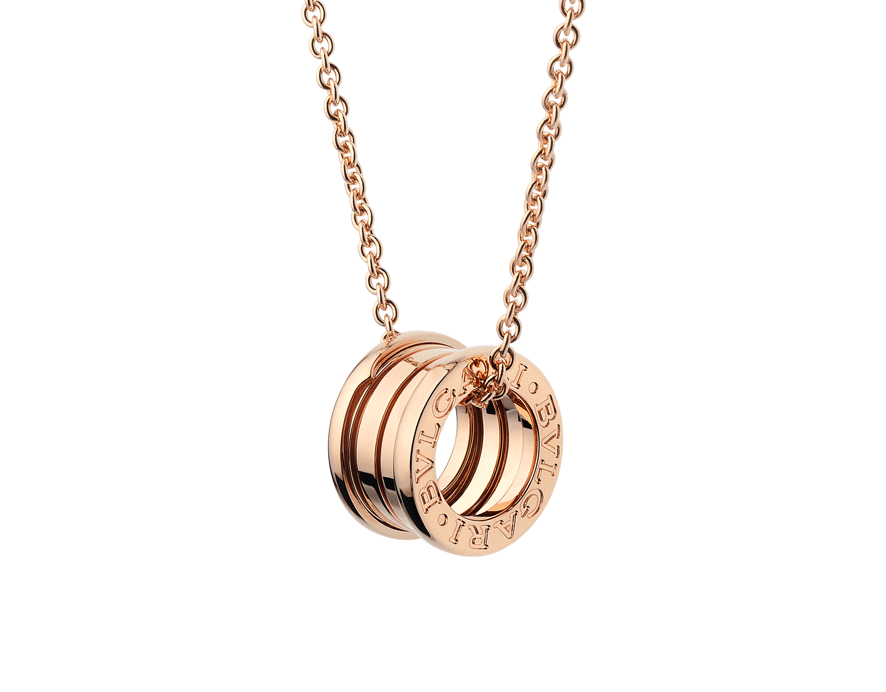 B.zero1 necklace with chain and small round pendant in 18kt rose gold. 335924 image 1