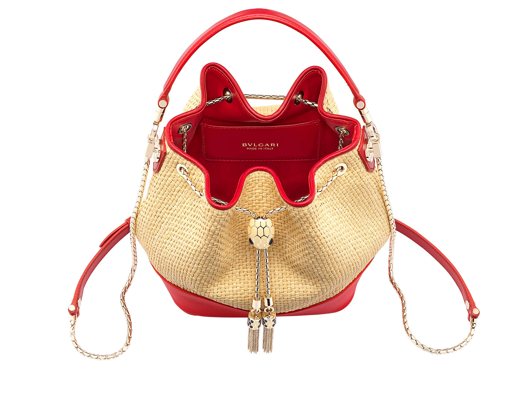"""Serpenti Forever"" small bucket bag in beige raffia and Carmine Jasper red calfskin, with Carmine Jasper red nappa leather internal lining. Alluring light gold-plated brass snakehead closure enhanced with full matte Natural beige enamel and black onyx eyes. 290959 image 2"