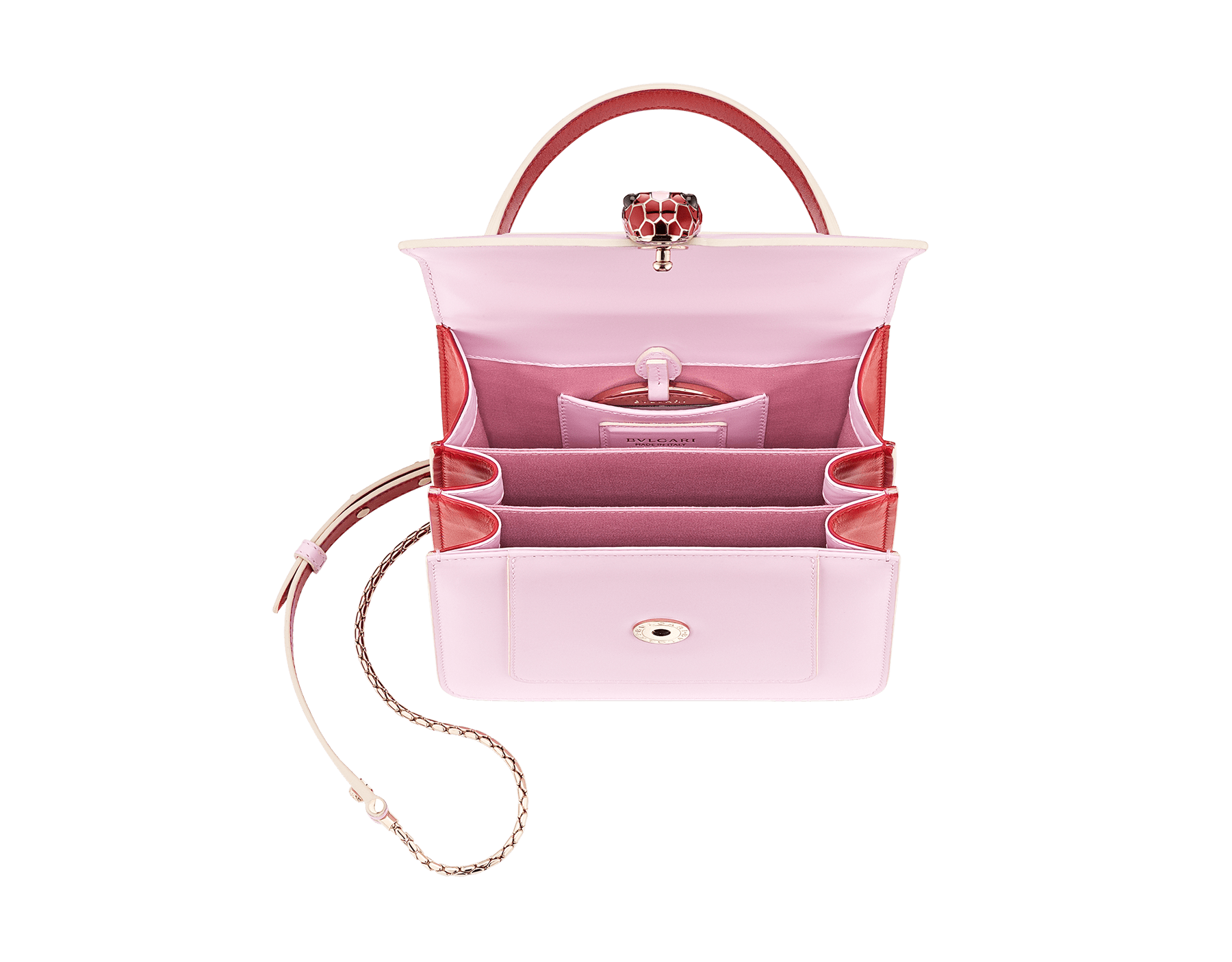 """Serpenti Forever "" crossbody bag in rosa di francia calf leather body and carmine jasper calf leather sides. Iconic snakehead closure in light gold plated brass enriched with carmine jasper and rosa di francia enamel and black onyx eyes. 289221 image 4"