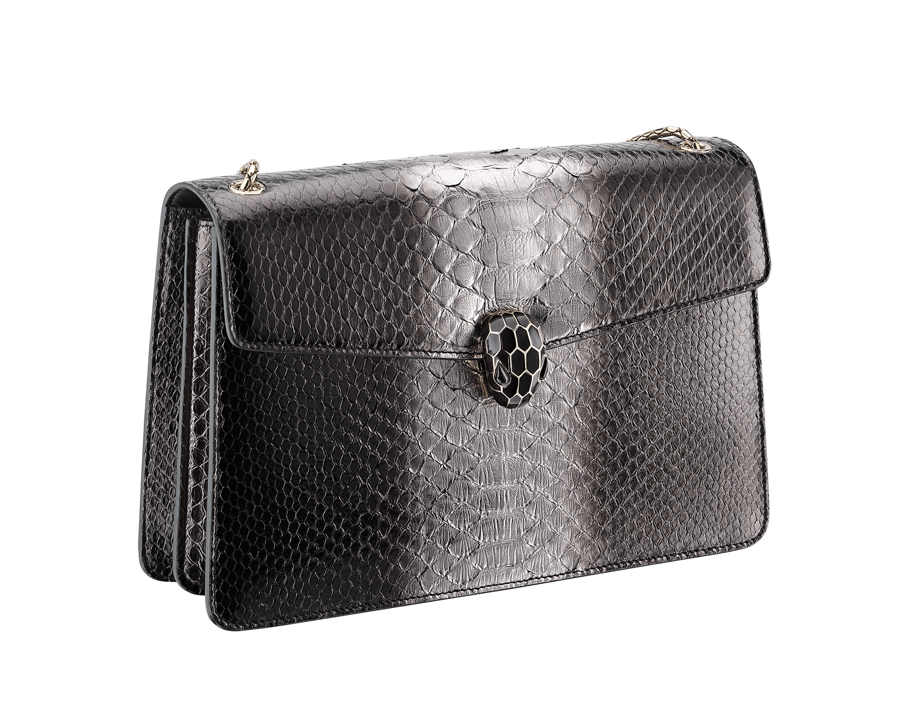 Serpenti Forever shoulder bag in black and silver shaded python skin. Snakehead closure in light gold plated brass decorated with black enamel, and black onyx eyes. 288494 image 2