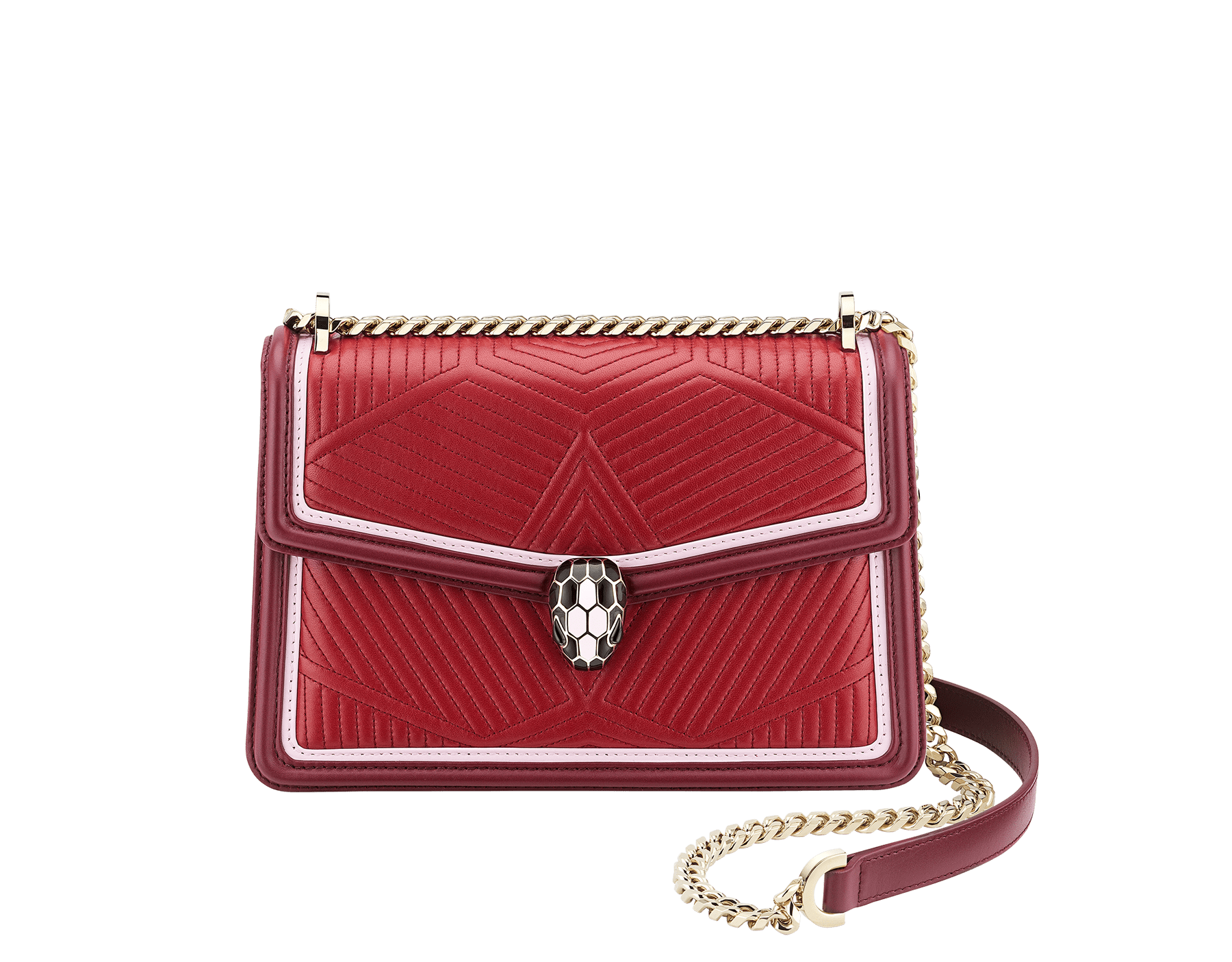"""Serpenti Diamond Blast"" shoulder bag in ruby red quilted calf leather and Roman garnet calf leather frames. Iconic snakehead closure in light gold plated brass enriched with black and rosa di francia enamel and black onyx eyes. 289463 image 1"