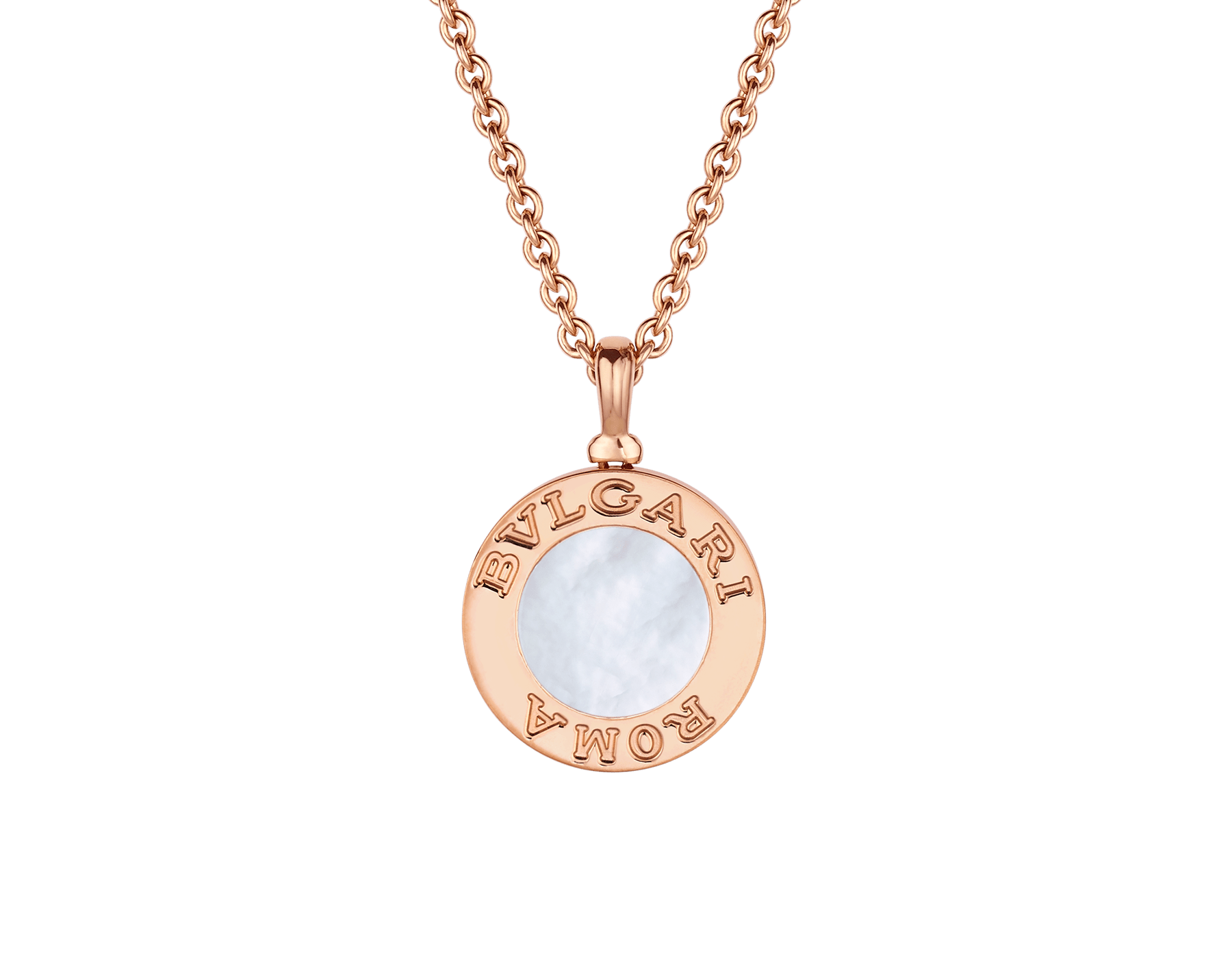 BVLGARI BVLGARI 18 kt rose gold chain and 18 kt rose gold pendant set with mother-of-pearl insert and pavé diamonds (0.34 ct) 358375 image 4