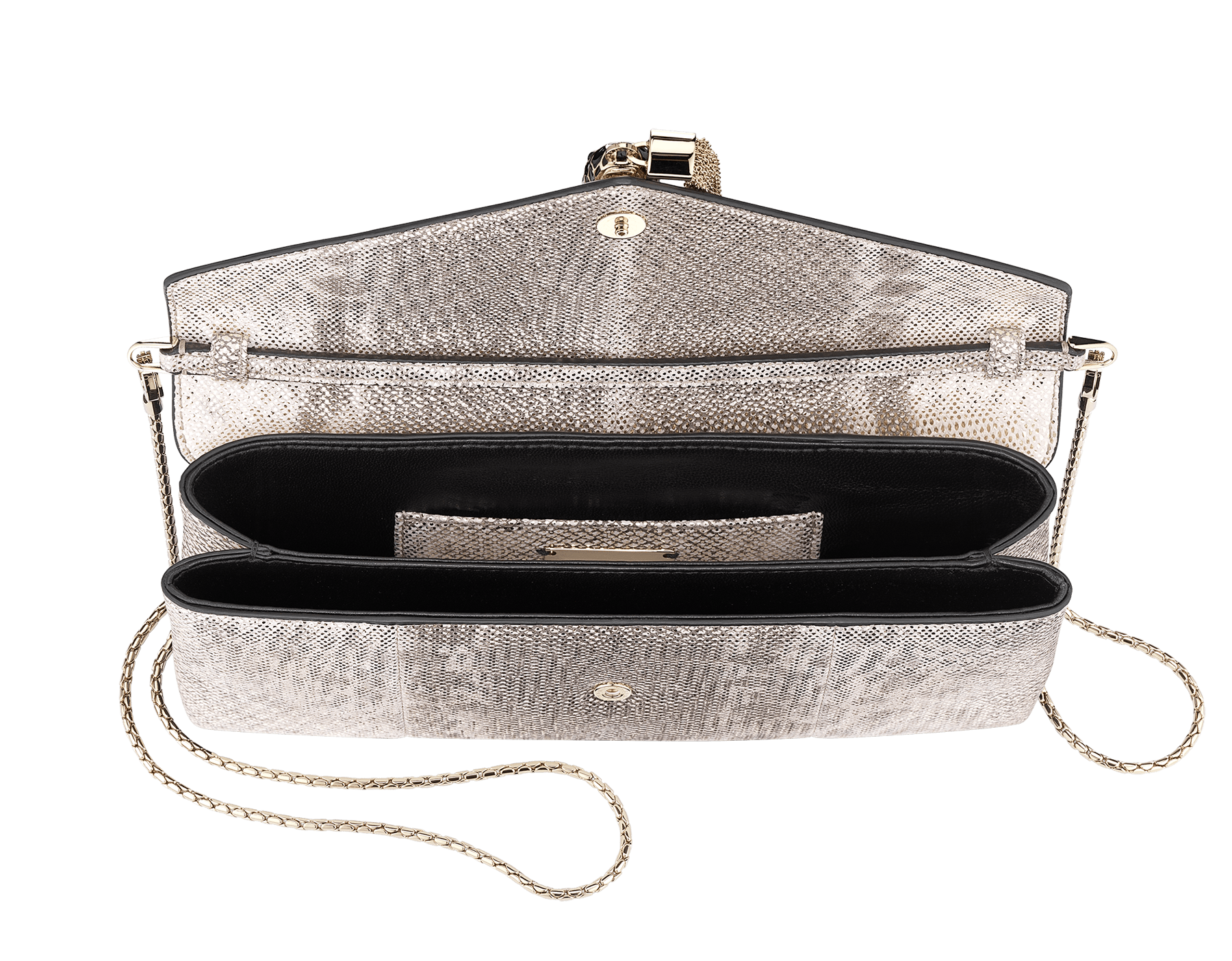 Serpenti evening clutch in milky opal metallic karung skin. Snakehead stud closure with tassel in light gold plated brass and top decorated with black and glitter milky opal enamel, and black onyx eyes. 526-001-0817S-MK image 4