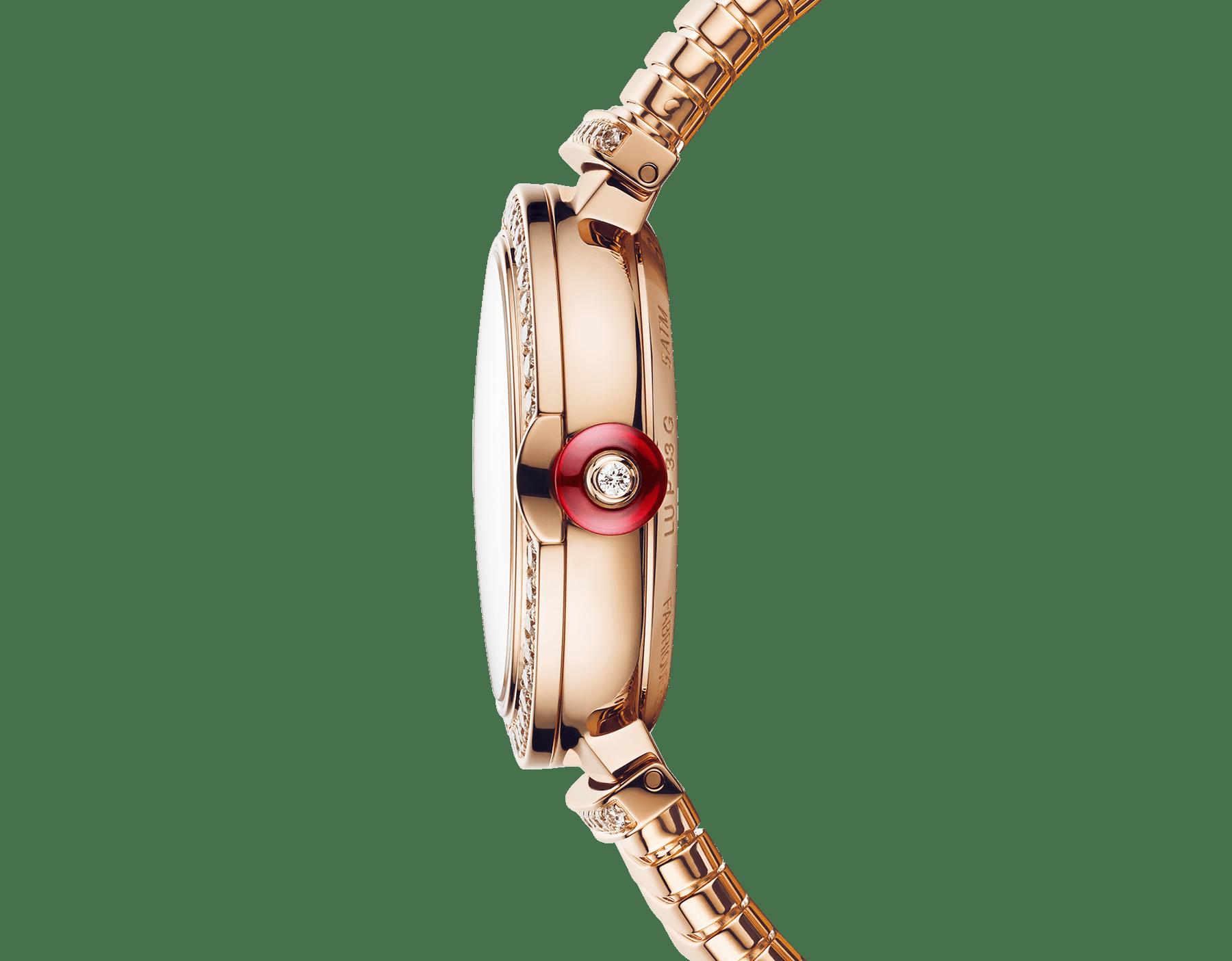 Relógio LVCEA Tubogas com caixa em ouro rosa 18K cravejada com diamantes, mostrador em madrepérola branca, índices de diamante e pulseira tubogas em ouro rosa 18K 103034 image 3