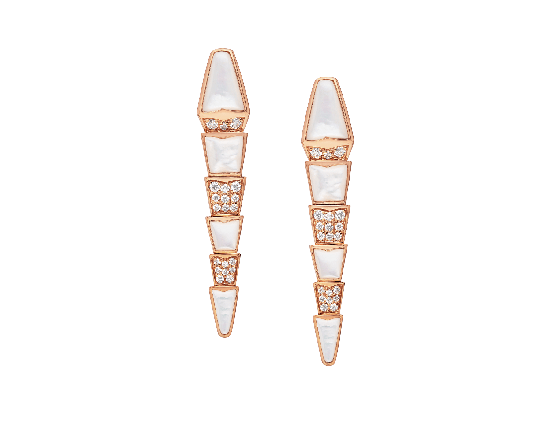 Serpenti earrings in 18 kt rose-gold set with mother-of-pearl elements and pavé diamonds. 350678 image 1