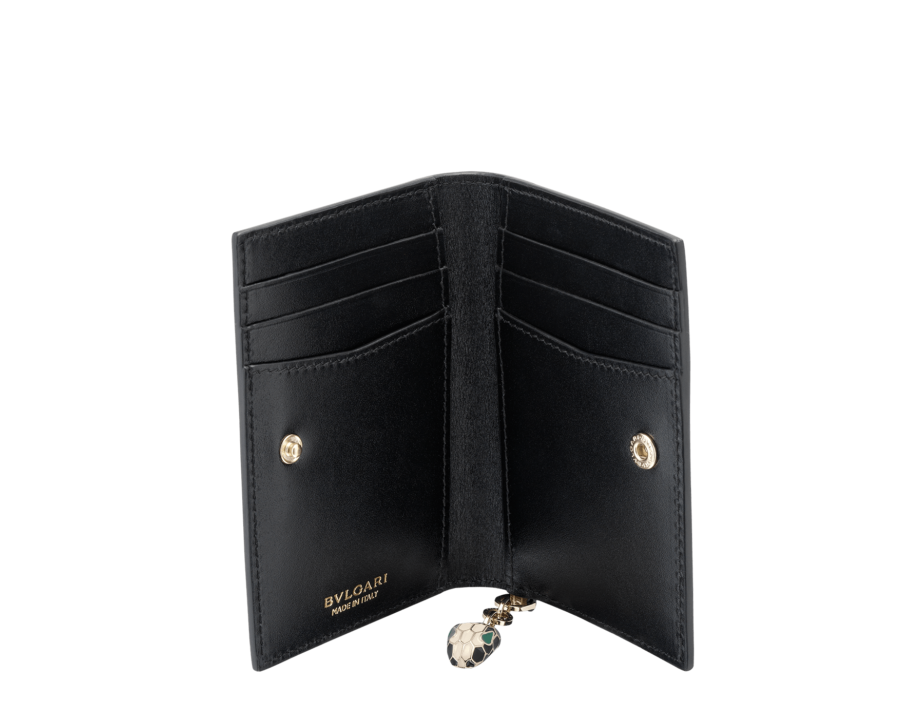 Folded credit card holder in antique bronze calf leather and black calf leather, with brass light gold plated hardware and stud closure. Serpenti head charm in black and white enamel with malachite enamel eyes. 282033 image 2