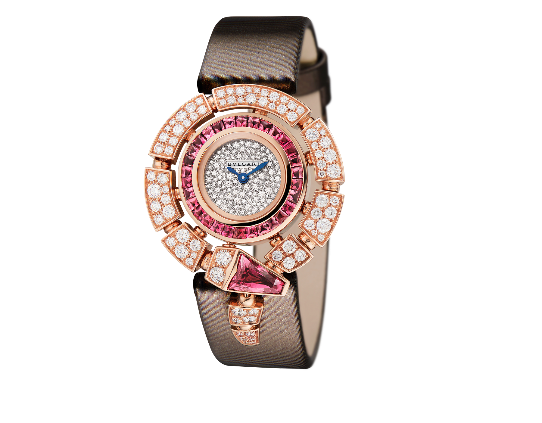 Serpenti Incantati watch with 18 kt rose gold case set with brilliant cut diamonds and rubellites, snow-pavé diamond dial and brown satin bracelet. 102537 image 1