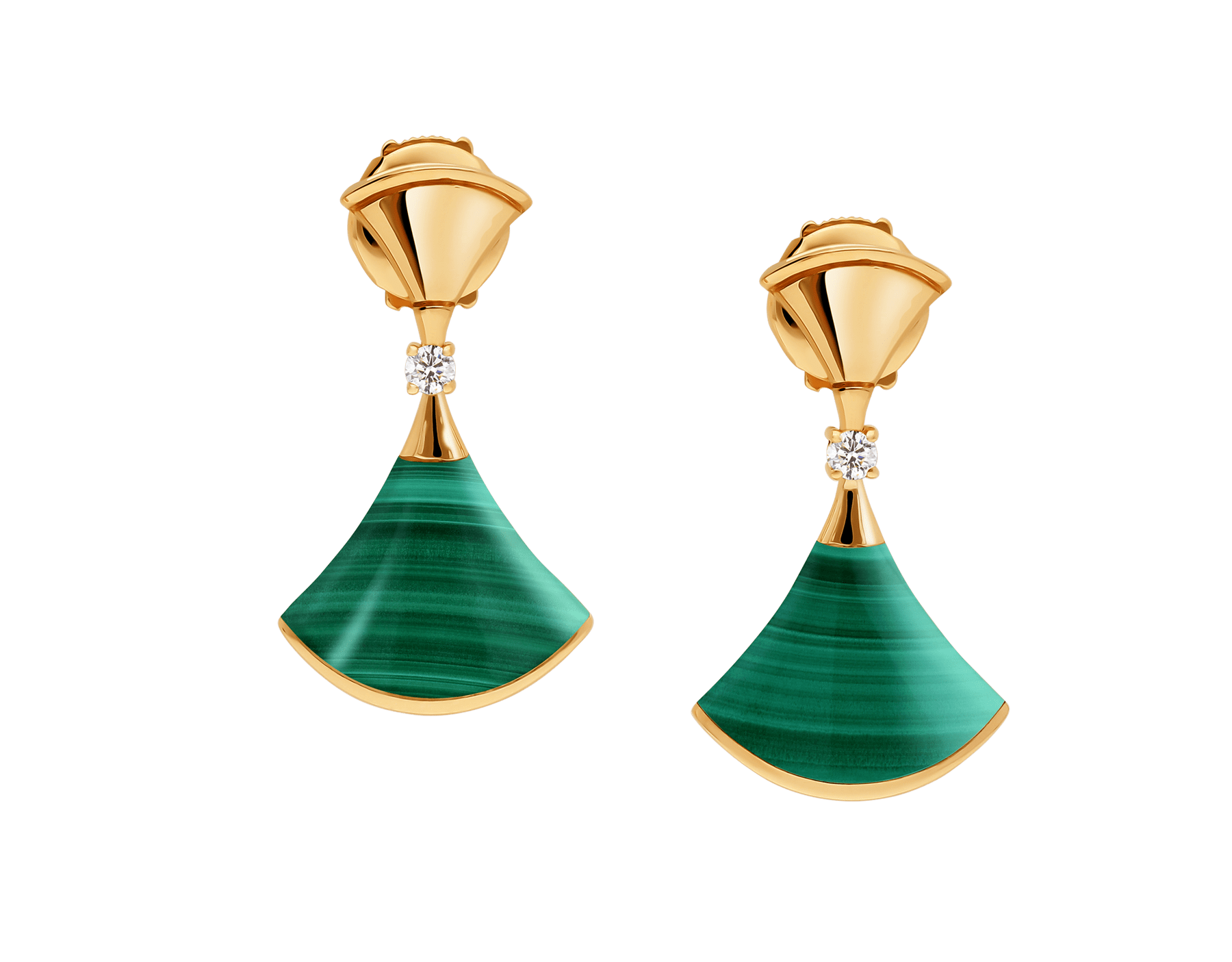DIVAS' DREAM 18 kt rose gold earrings set with malachite elements and round brilliant-cut diamonds (0.07) 358128 image 1