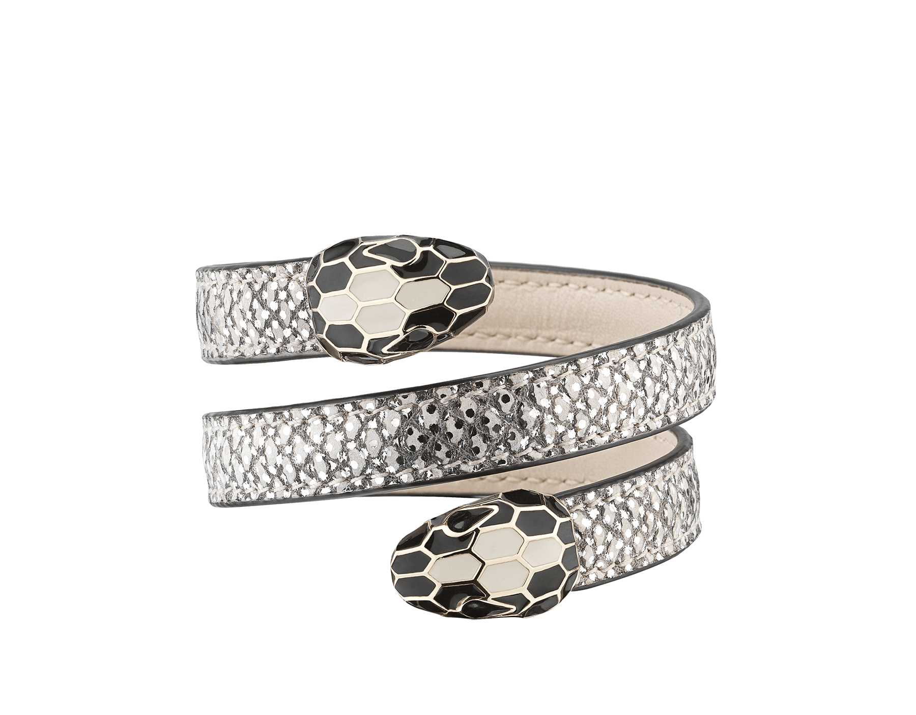 Serpenti Forever multi-coiled rigid Cleopatra bracelet in white agate metallic karung skin, with light gold brass plated hardware. Iconic double snakehead décor in black and white agate enamel, with black enamel eyes. Cleopatra-MK-WA image 1