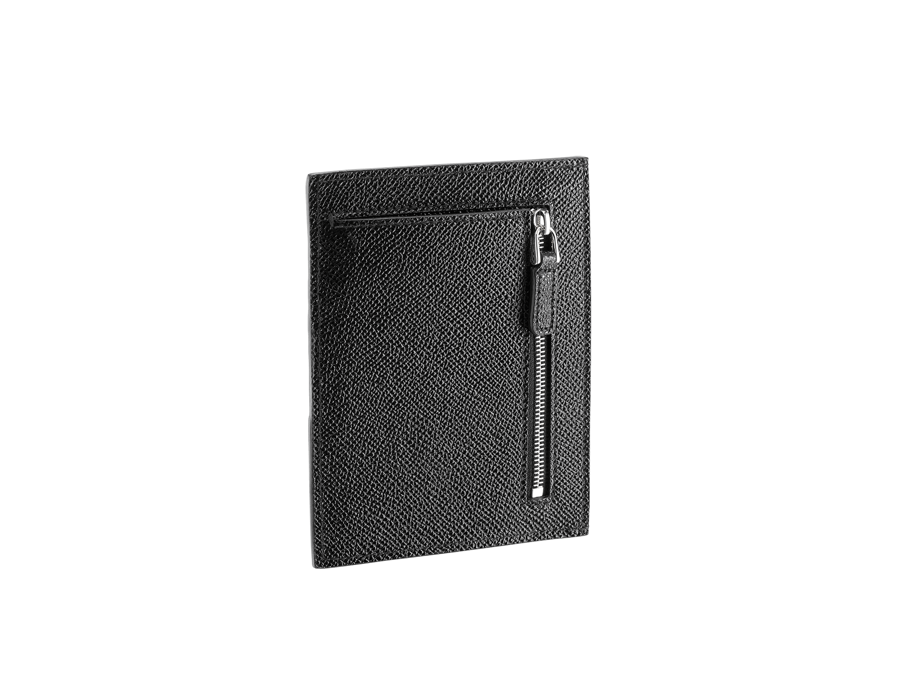 BVLGARI BVLGARI credit card and coins holder in black grain calf leather. Iconic logo décor in palladium plated brass. 289391 image 2