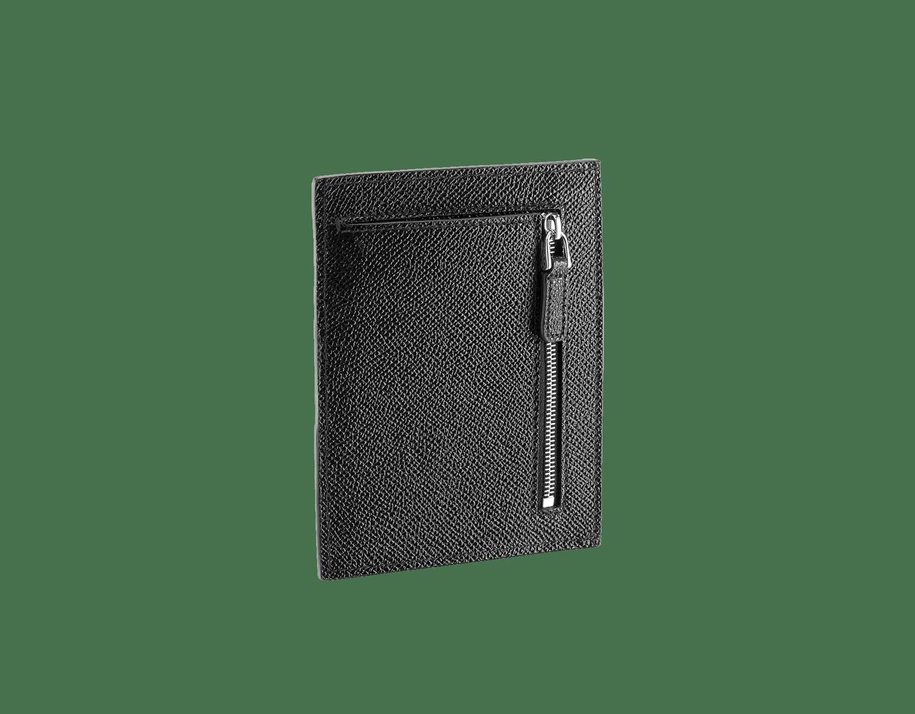 ブラックのグレインカーフレザー製「ブルガリ・ブルガリ」クレジットカードおよびコインホルダー。ブラスパラジウムプレートのアイコニックなロゴの装飾。 289391 image 2