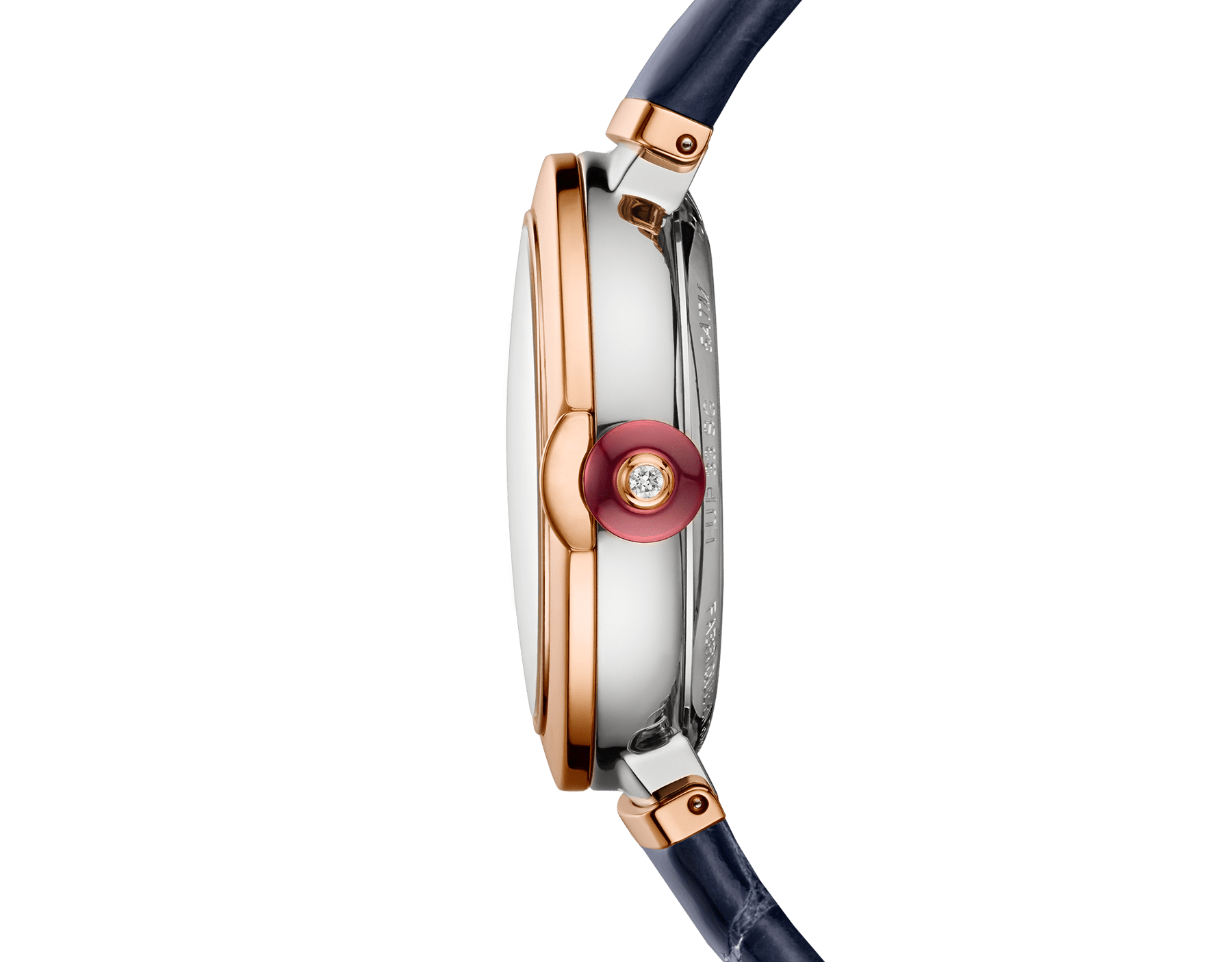 LVCEA Uhr mit einem Gehäuse aus 18 Karat Roségold und Edelstahl, einem weißen Perlmutt-Zifferblatt mit Diamant-Indizes, Datumsfenster und einem blauen Armband aus Alligatorleder. 102638 image 3