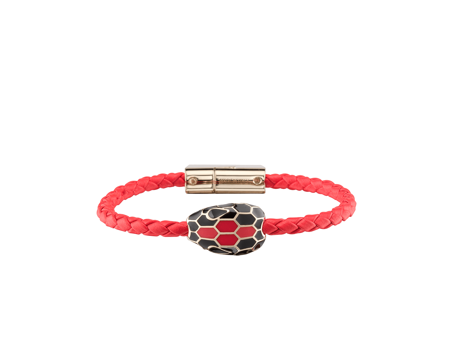 Serpenti Forever braid bracelet in sea star coral woven calf leather with an iconic snakehead decoration in black and sea star coral enamel. SerpBraid-WCL-SSC image 1