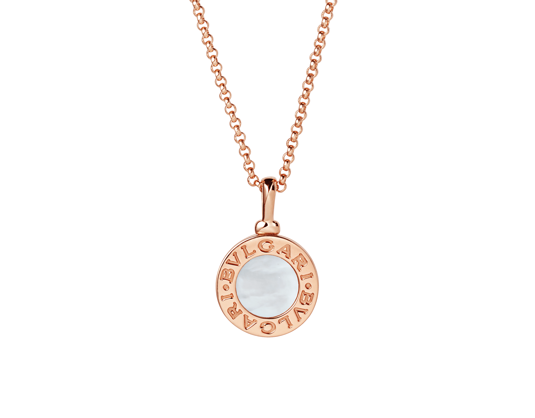 BVLGARI BVLGARI necklace with 18 kt rose gold chain and 18 kt rose gold pendant set with mother-of-pearl elements 350553 image 1