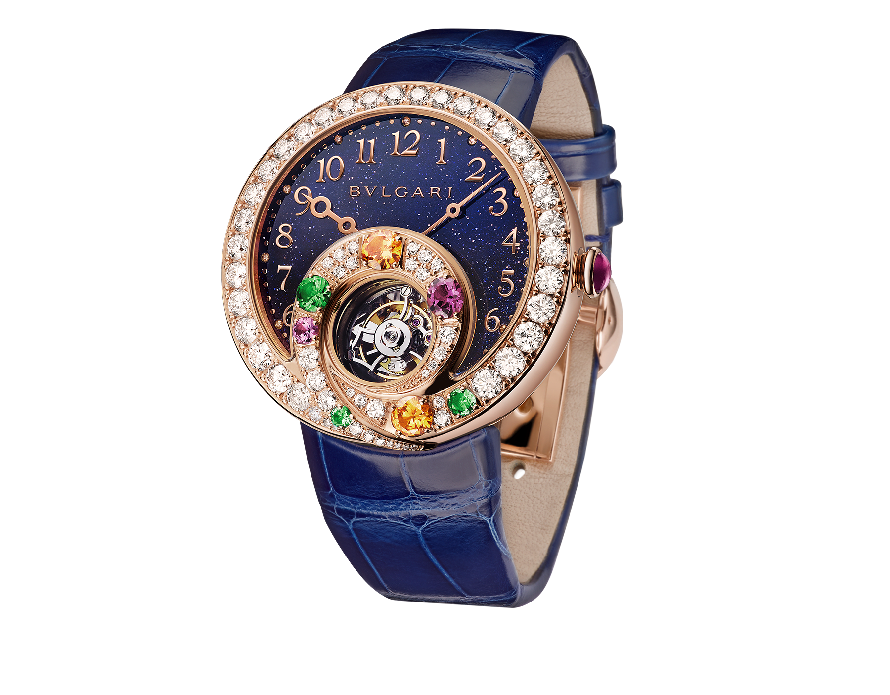 Berries Tourbillon watch with mechanical manufacture movement, automatic winding and see-through tourbillon. 18 kt rose gold case set with brilliant-cut diamonds, emeralds, mandarine garnets, tourmaline, sapphire and tsavorite, aventurine dial, diamond indexes and blue alligator bracelet 102556 image 1