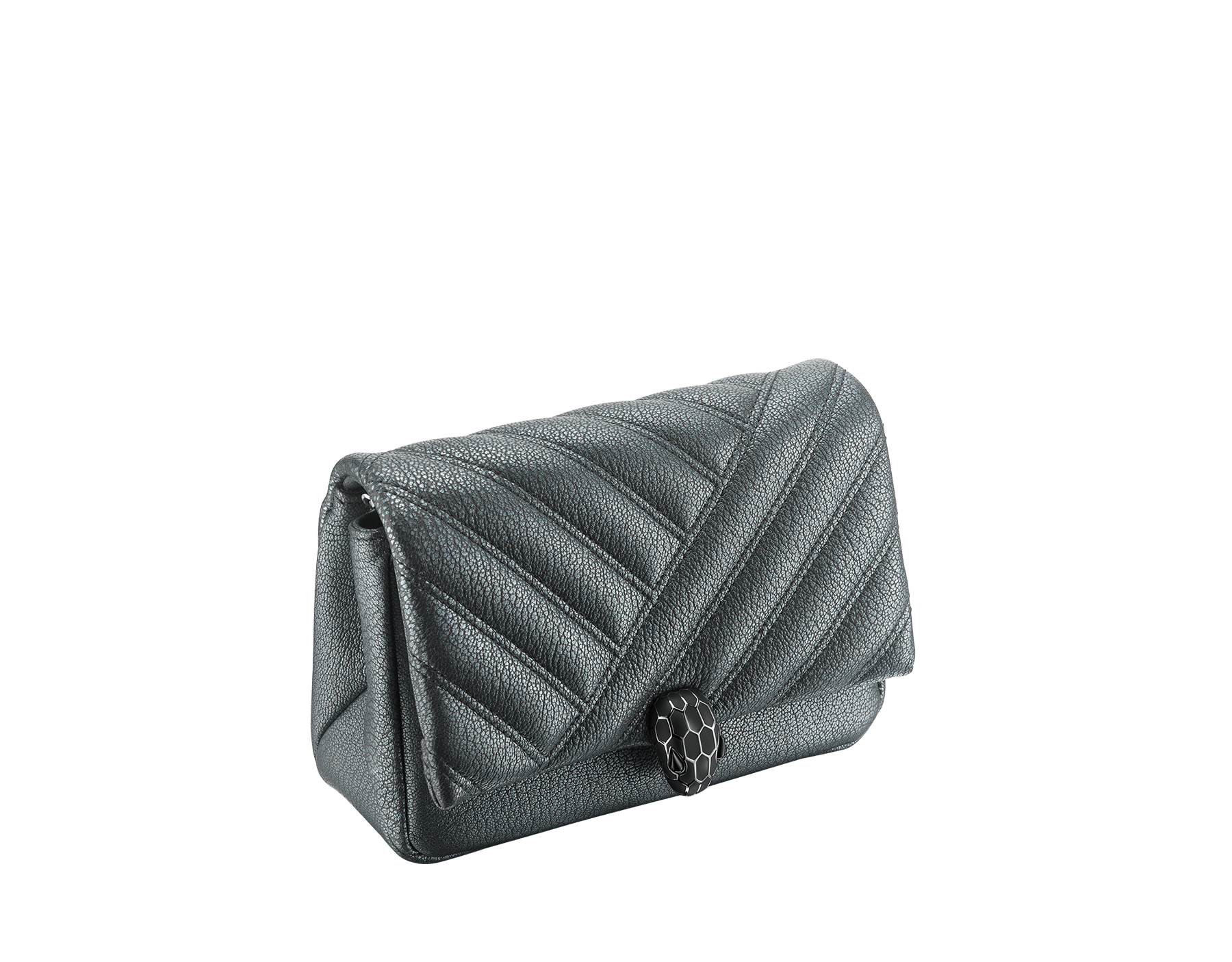 """Serpenti Cabochon"" crossbody mini bag in soft matelassé charcoal diamond goatskin with a pearled effect and a graphic motif. Brass palladium plated tempting snakehead closure in matte and shiny black enamel and black onyx eyes. 290276 image 2"