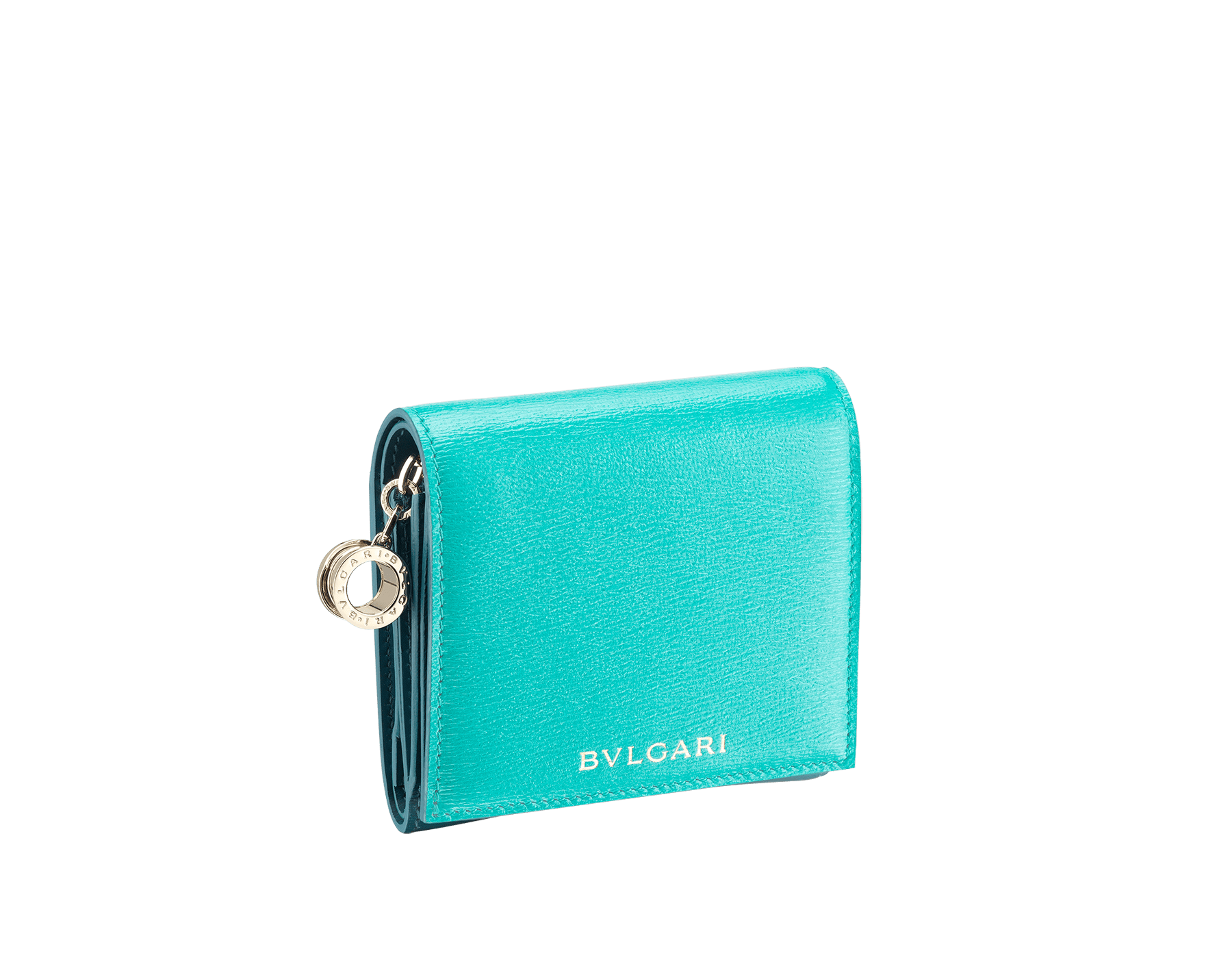 B.zero1 super compact wallet in tropical turquoise and deep jade goatskin. Iconic B.zero1 charm in light gold plated brass. 288242 image 1