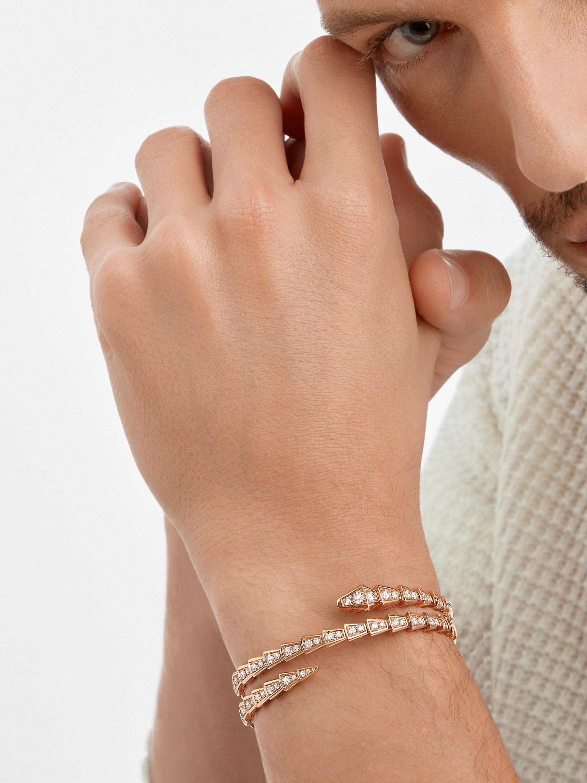 Serpenti Viper two-coil 18 kt rose gold bracelet, set with pavé diamonds BR858796 image 4