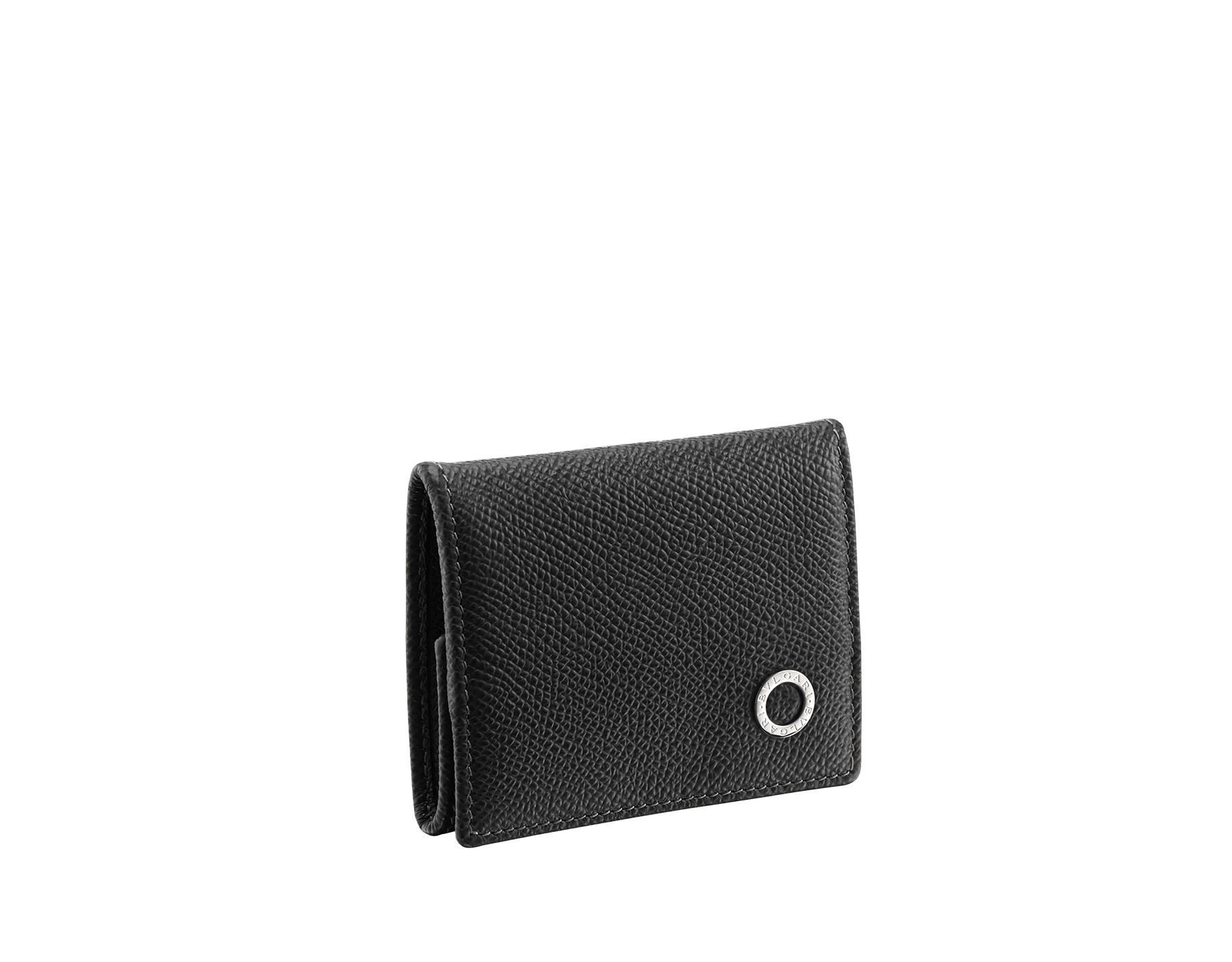 Coin holder in black grain calf leather with brass palladium plated hardware featuring the Bvlgari-Bvlgari motif. Flap closure with press button. 282231 image 1