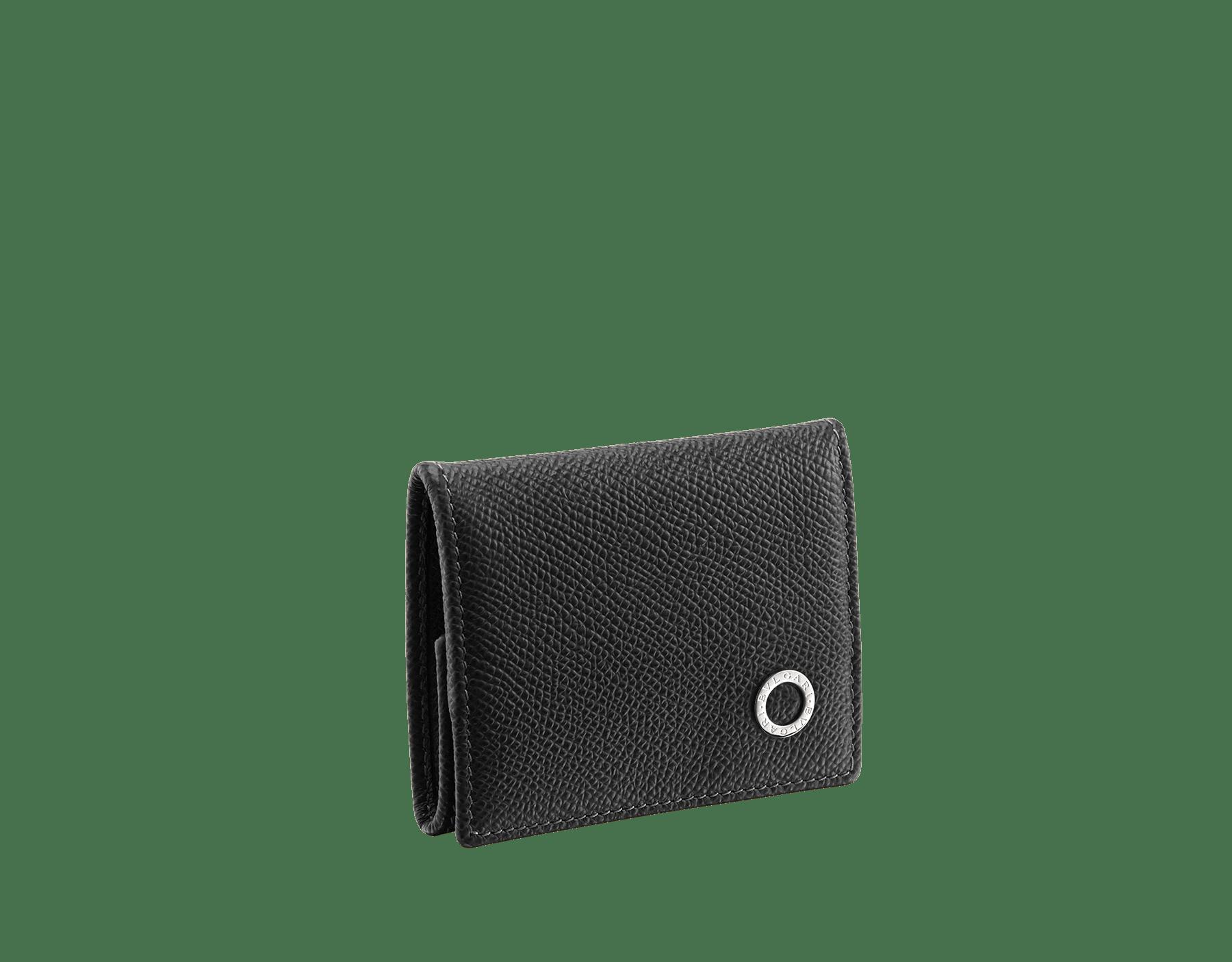 單寧藍珠面小牛皮零錢包,鍍鈀黃銅配飾,飾以 Bvlgari-Bvlgari 元素。 BBM-WLT-COIN image 1