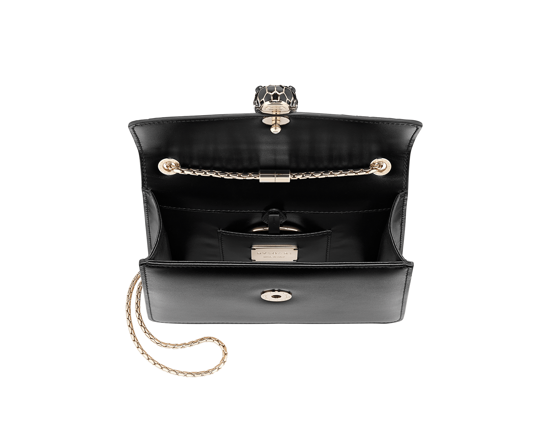 """Serpenti Forever"" crossbody bag in rosa di francia smooth calf leather with onyx scales applied on the flap. Iconic snake head closure in light gold plated brass enriched with black enamel and black onyx eyes. 422-GEM image 4"
