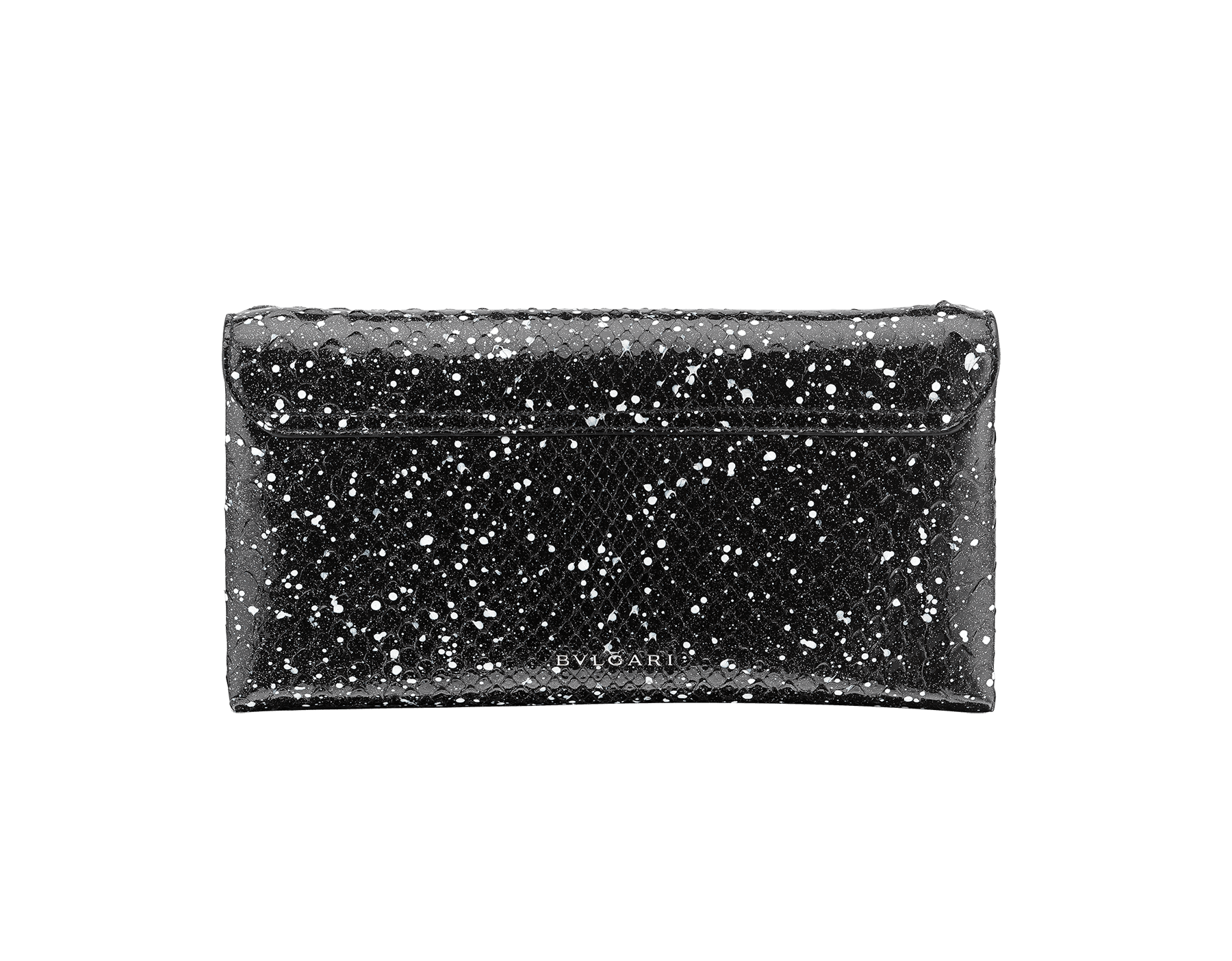 Serpenti evening clutch in black and white Cosmic python skin. Snakehead stud closure with tassel in palladium plated brass decorated with black and white enamel, and black onyx eyes. 288528 image 3