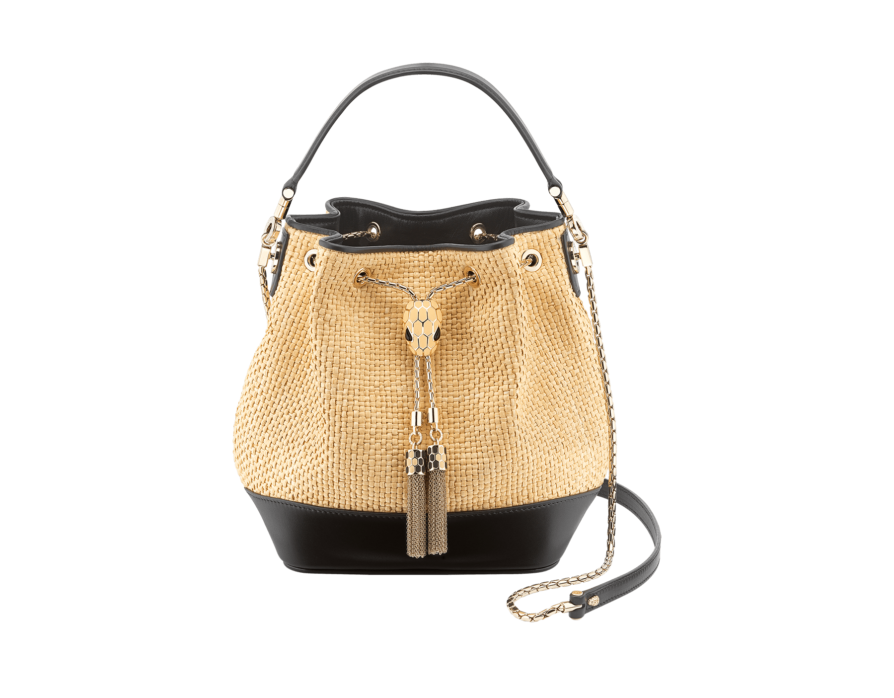 """Serpenti Forever"" small bucket bag in beige raffia and black calfskin, with black nappa leather internal lining. Alluring light gold-plated brass snakehead closure enhanced with full matte Natural beige enamel and black onyx eyes. 290960 image 1"