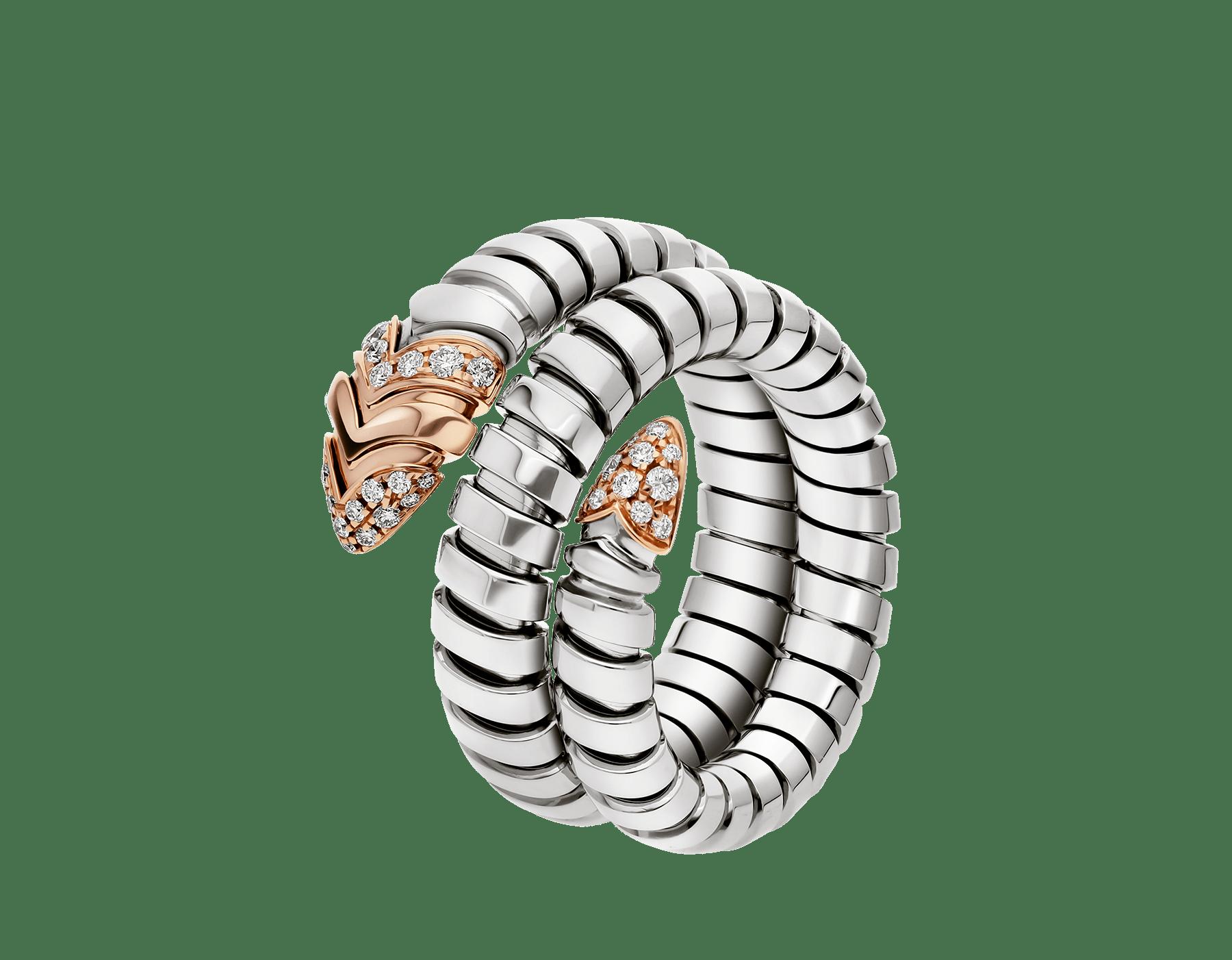Associant le motif du serpent à la technique Tubogas pour créer une nouvelle forme de séduction, la bague Serpenti s'enroule autour du doigt avec la féminité de l'or rose, la modernité de l'acier et le glamour éclatant du pavé diamants. AN856666 image 1