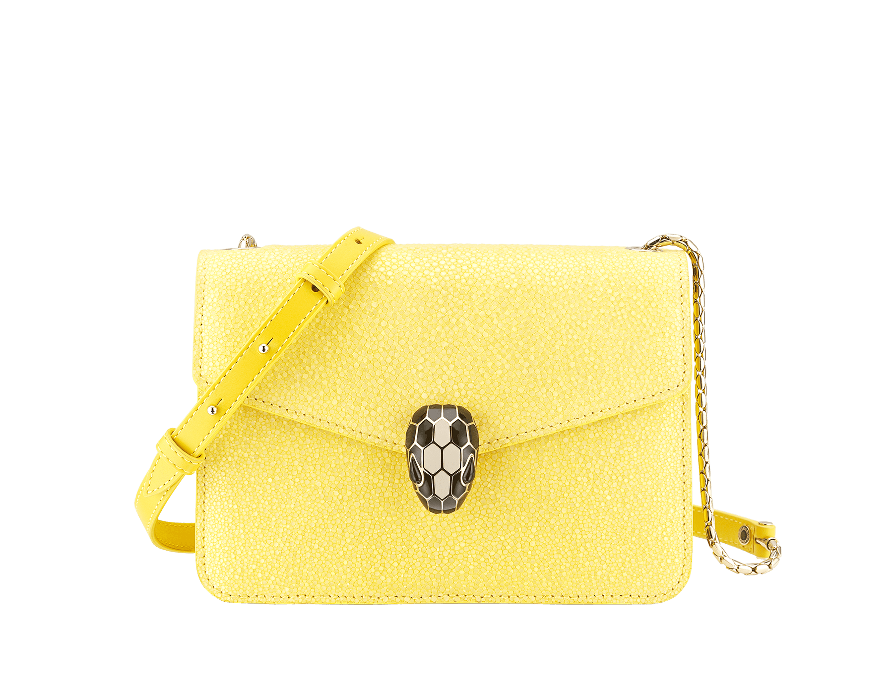 """Serpenti Forever"" crossbody bag in daisy topaz full galuchat skin body and daisy topaz calf leather sides. Iconic snakehead closure in light gold plated brass enriched with black and white enamel and black onyx eyes. 290242 image 1"
