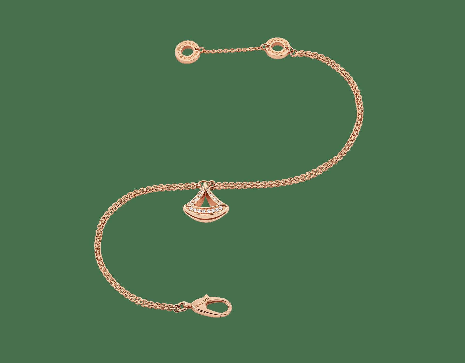 Pulseira vazada DIVAS' DREAM em ouro rosa 18K com pingente em ouro rosa 18K cravejado com pavê de diamantes. BR858254 image 2