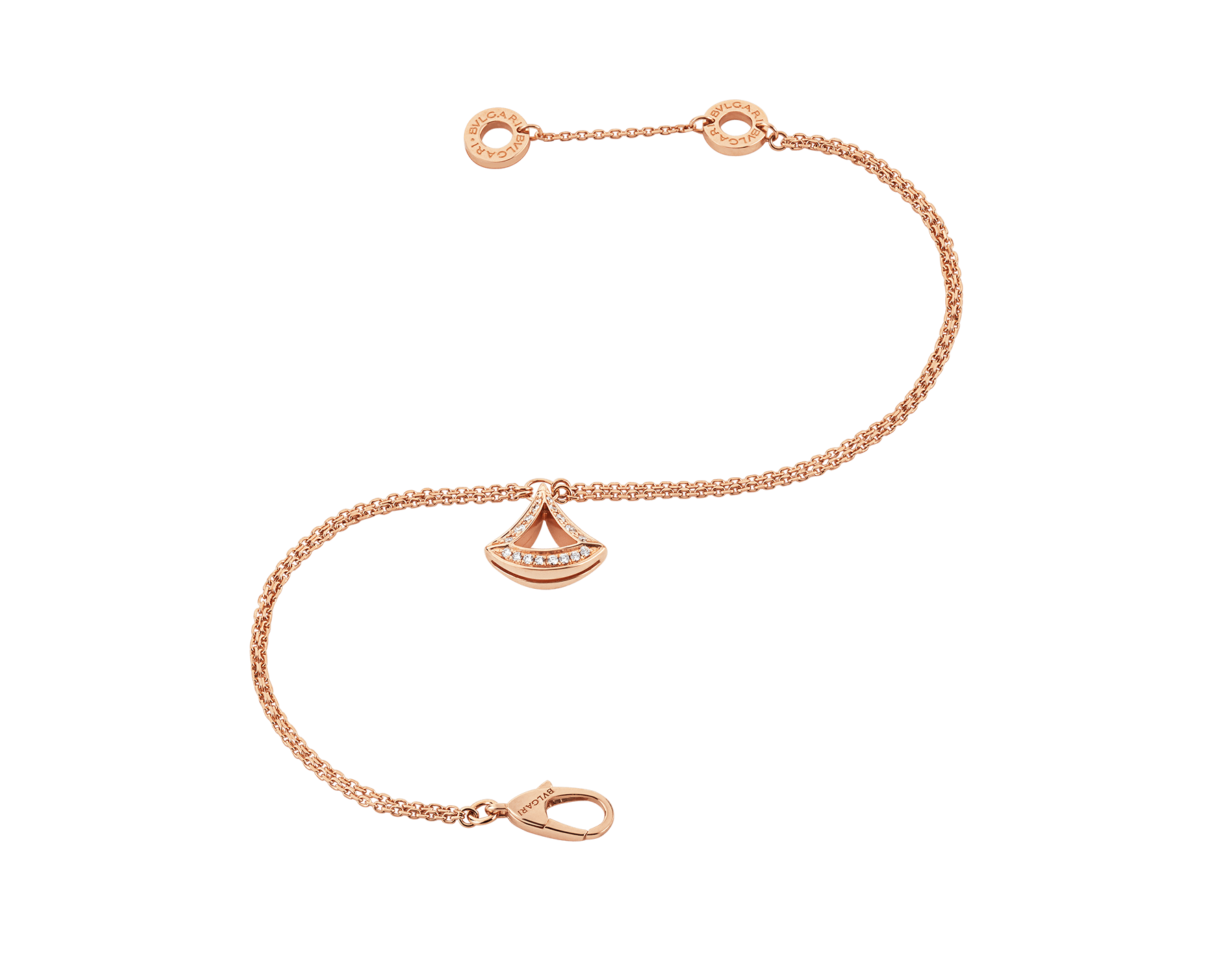 DIVAS' DREAM 18 kt rose gold openwork bracelet with 18 kt rose gold pendant set with pavé diamonds. BR858254 image 2
