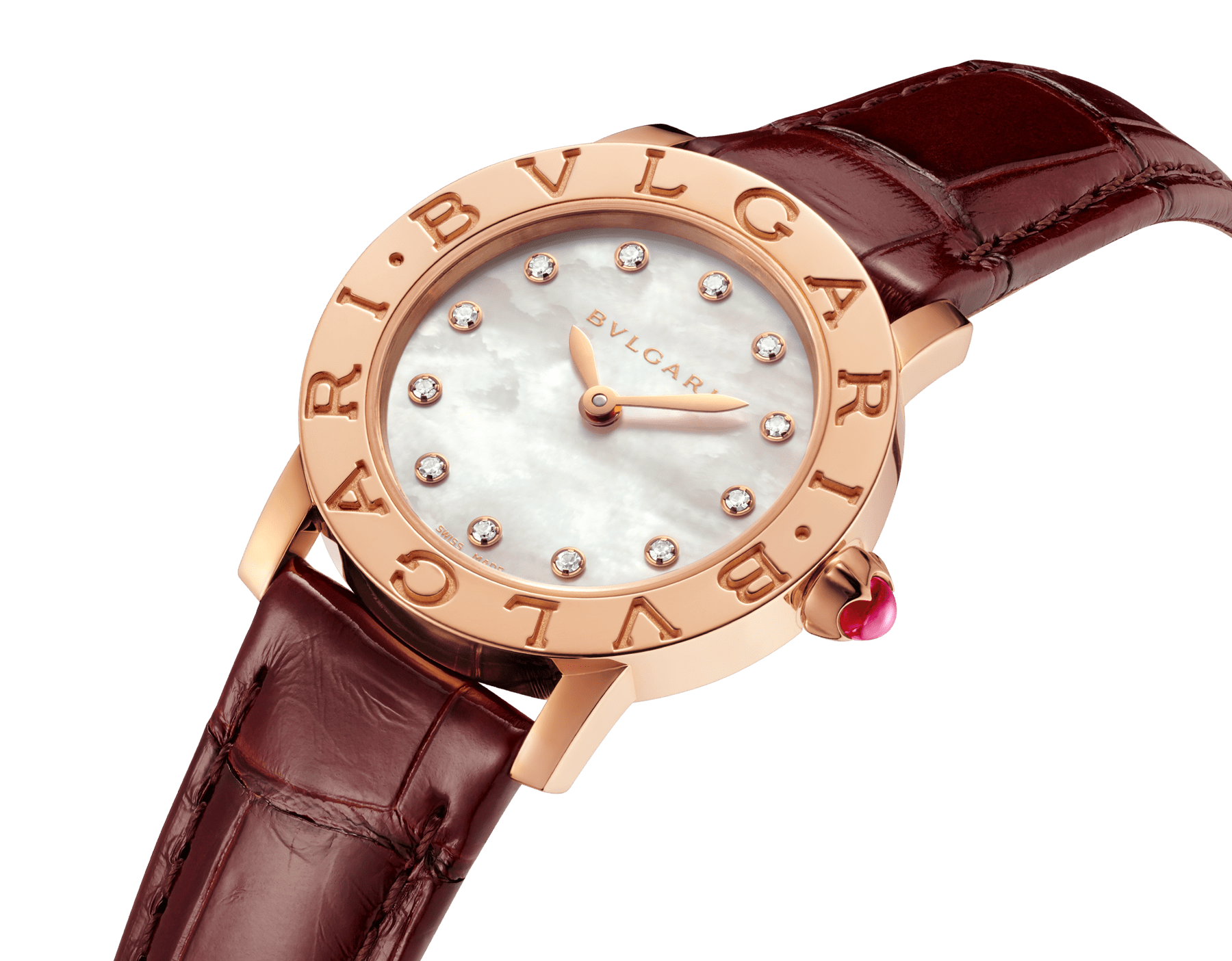 BVLGARI BVLGARI watch with 18 kt rose gold case, white mother-of-pearl dial, diamond indexes and shiny brown alligator bracelet 102751 image 2