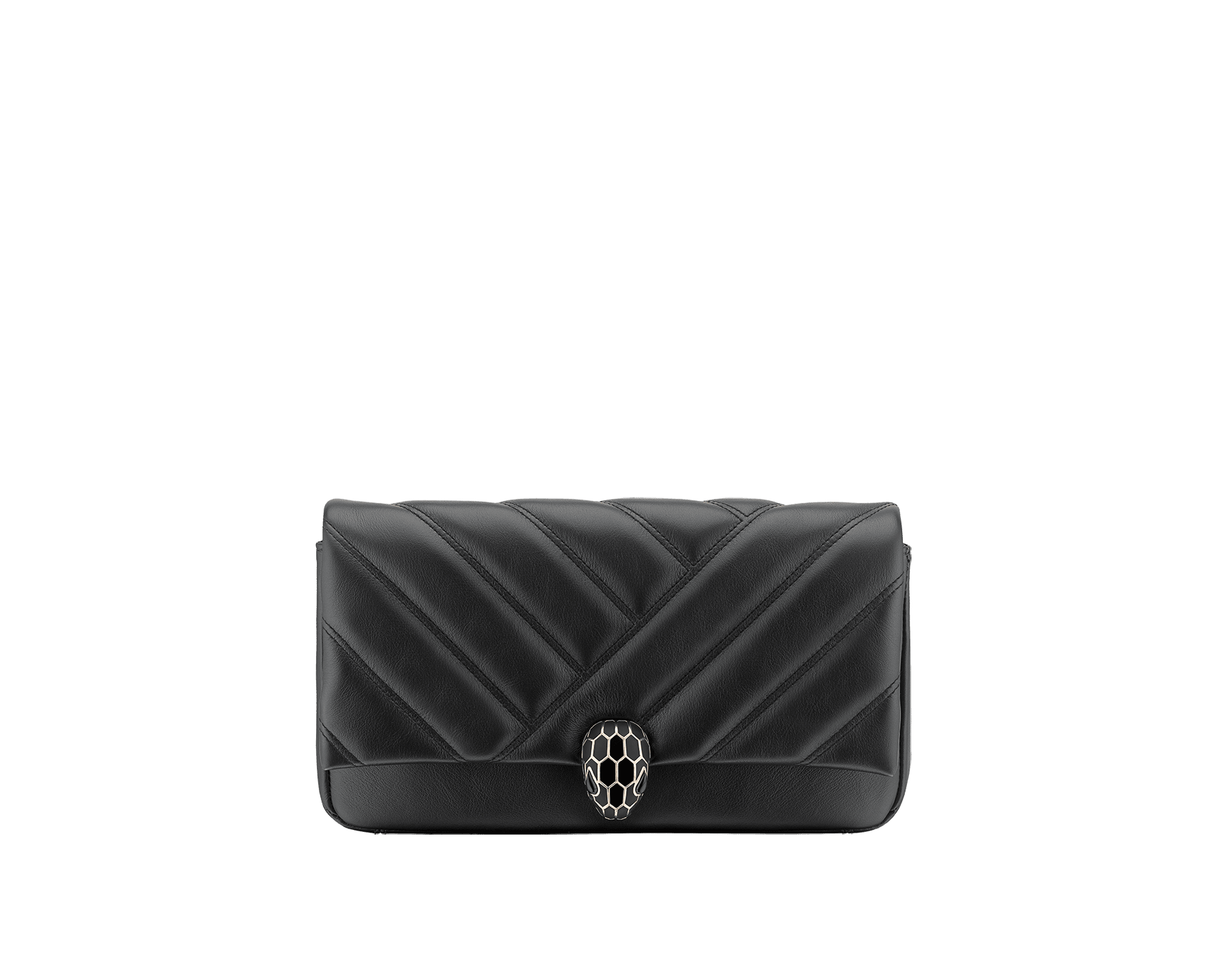 Serpenti Cabochon clutch bag in soft matelassé black calf leather, with a graphic motif. Tempting pink gold-plated brass snake head closure in matt and shiny black enamel and black onyx eyes. 289301 image 1