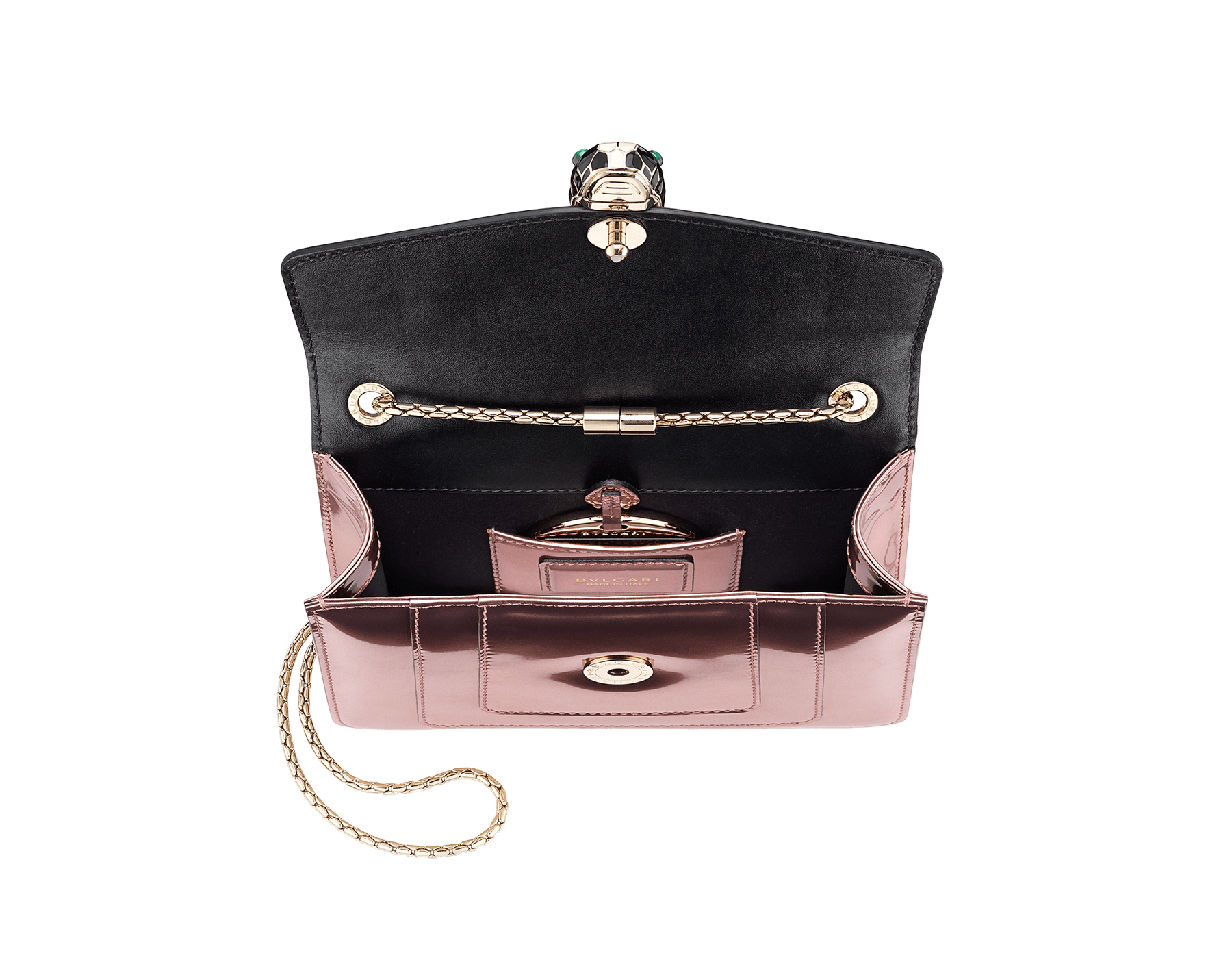 Flap cover bag Serpenti Forever in rose quartz brushed metallic calf leather. Brass light gold plated tempting snake head closure in black and white enamel, with eyes in green malachite. 422-BMCLb image 5