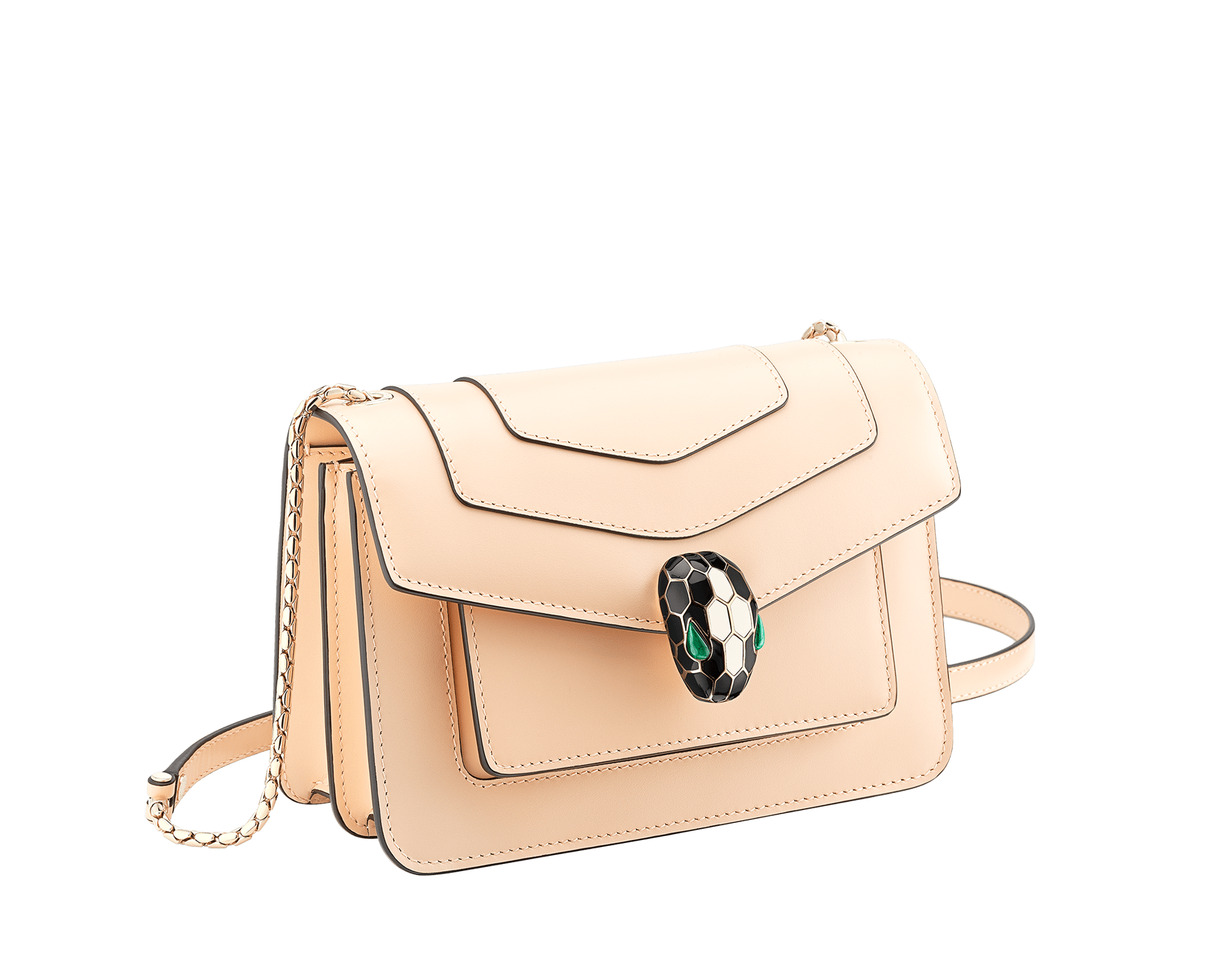 """Serpenti Forever"" crossbody bag in mint calf leather. Iconic snakehead closure in light gold plated brass enriched with black and white agate enamel and green malachite eyes. 1082-CLb image 2"