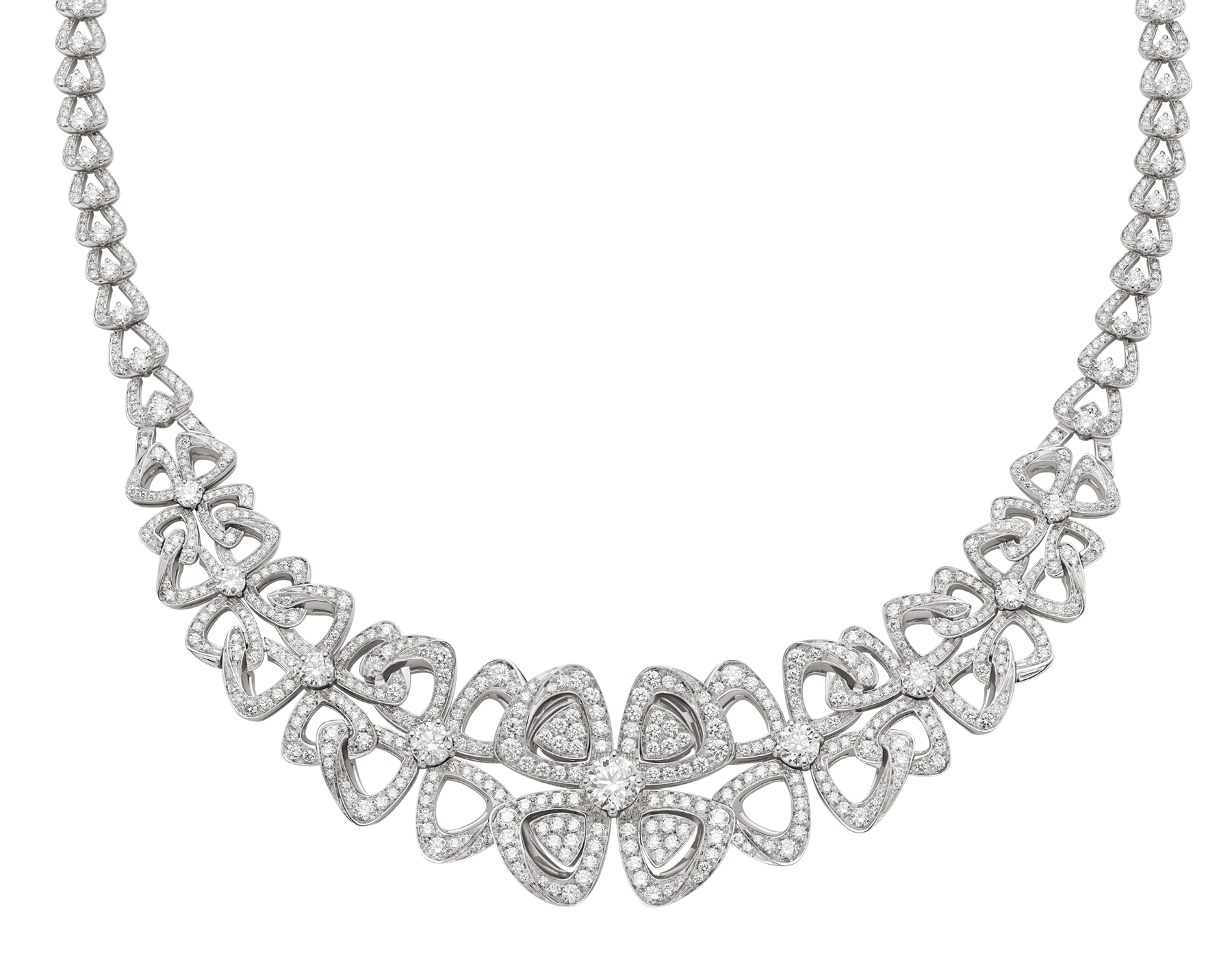 Fiorever 18 kt white gold necklace set with round brilliant-cut diamonds and pavé diamonds. 356934 image 1