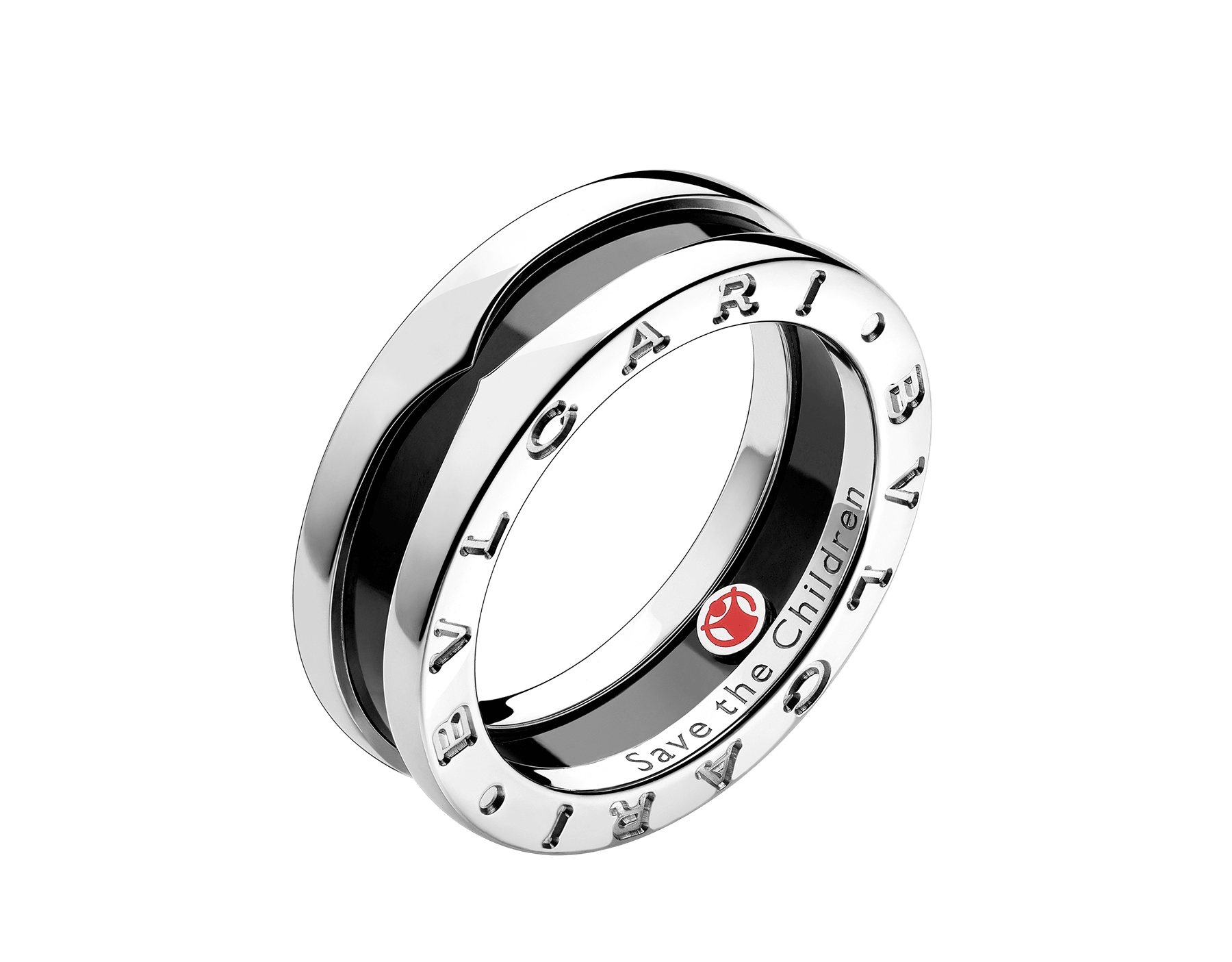 Anello a fascia Save the Children in argento 925 e ceramica nera. AN855770 image 1